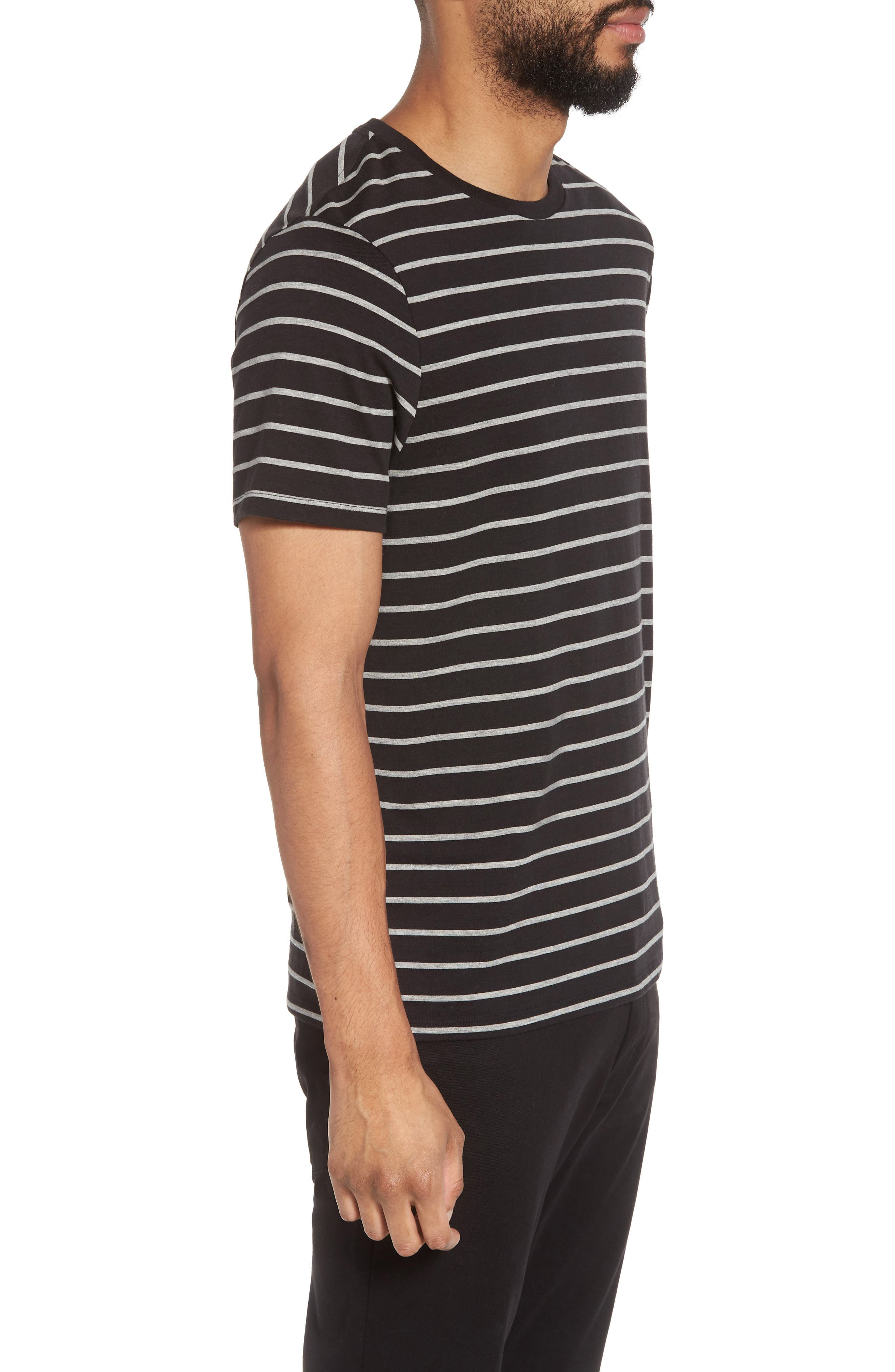 Slim Fit Heathered Stripe T-Shirt,                             Alternate thumbnail 3, color,                             Black/ Heather Steel