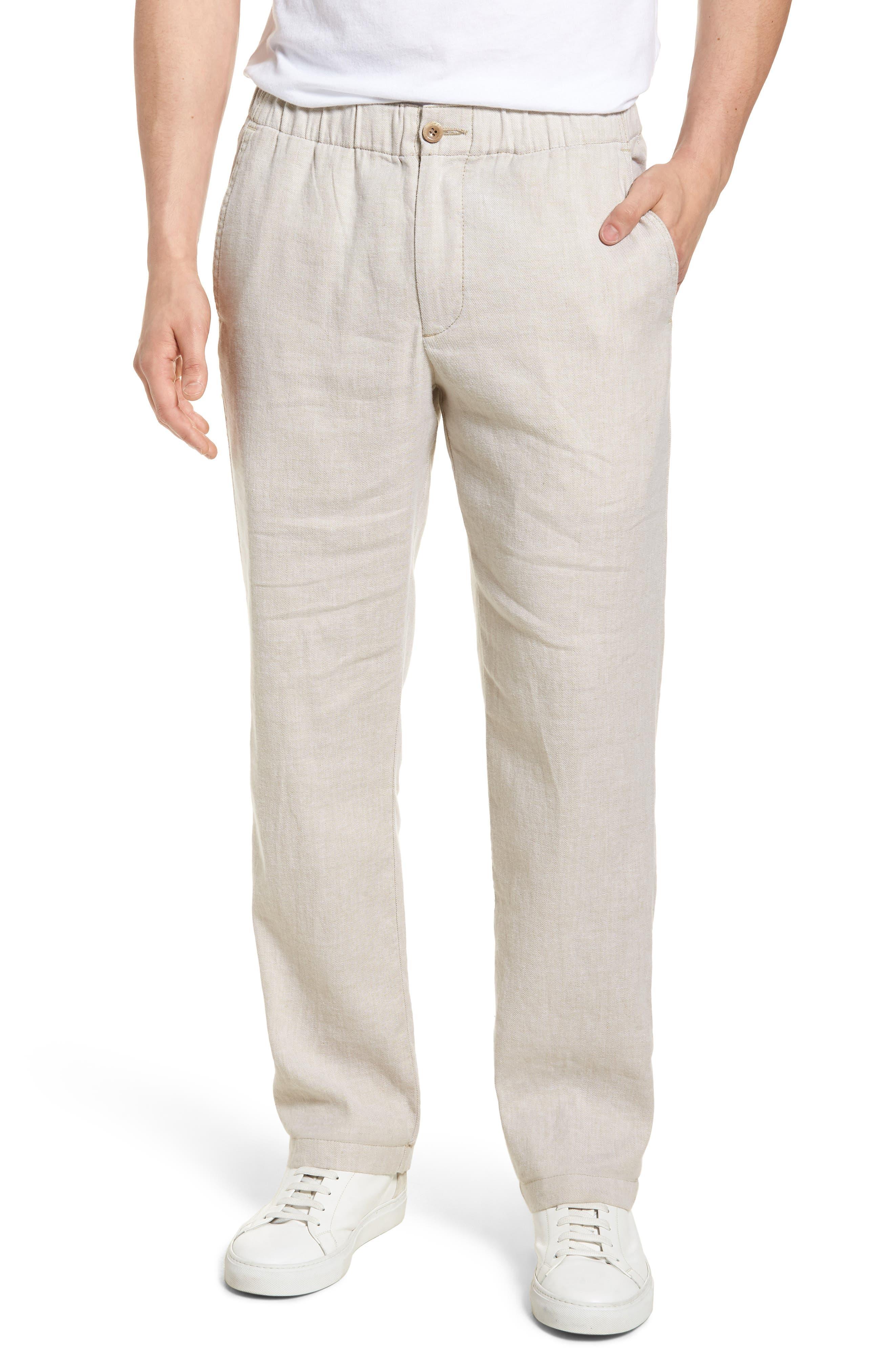 Beach Linen Blend Pants,                         Main,                         color, Stone Khaki