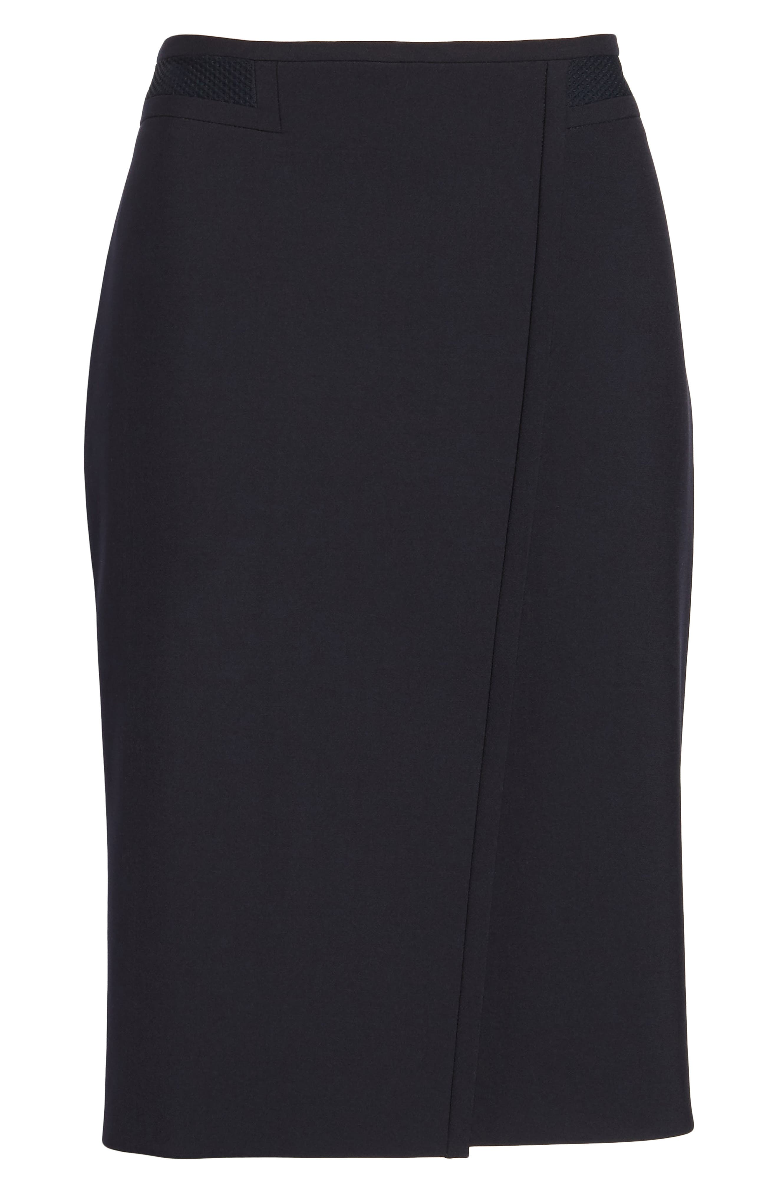 Vadama Ponte Pencil Skirt,                             Alternate thumbnail 6, color,                             Navy