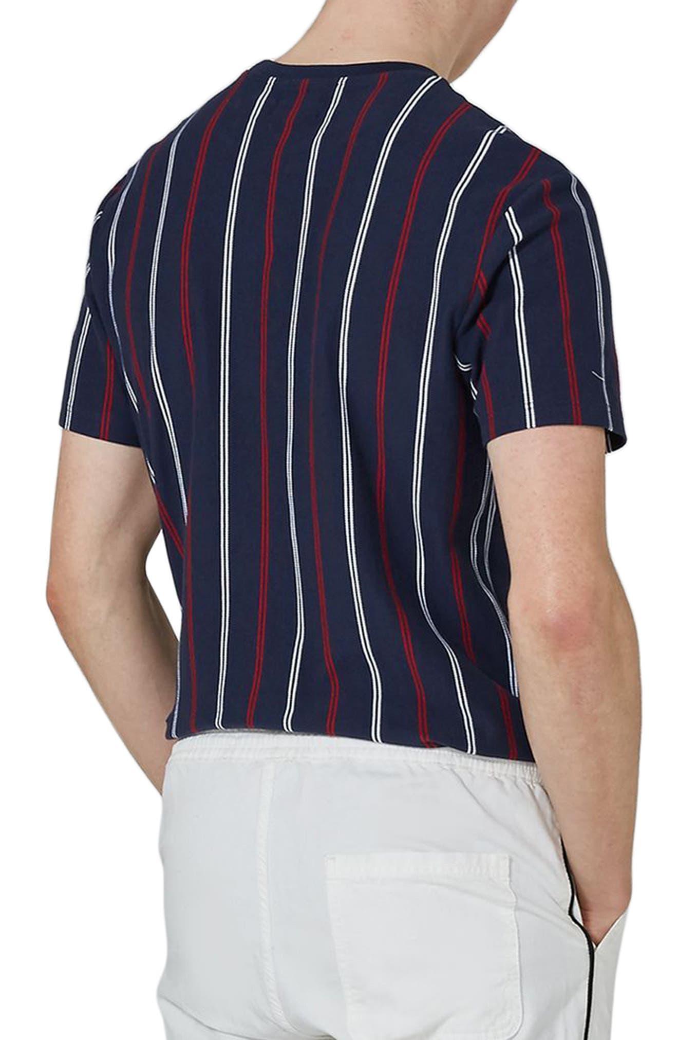 Slim Fit Vertical Striped T-Shirt,                             Alternate thumbnail 2, color,                             Dark Blue Multi