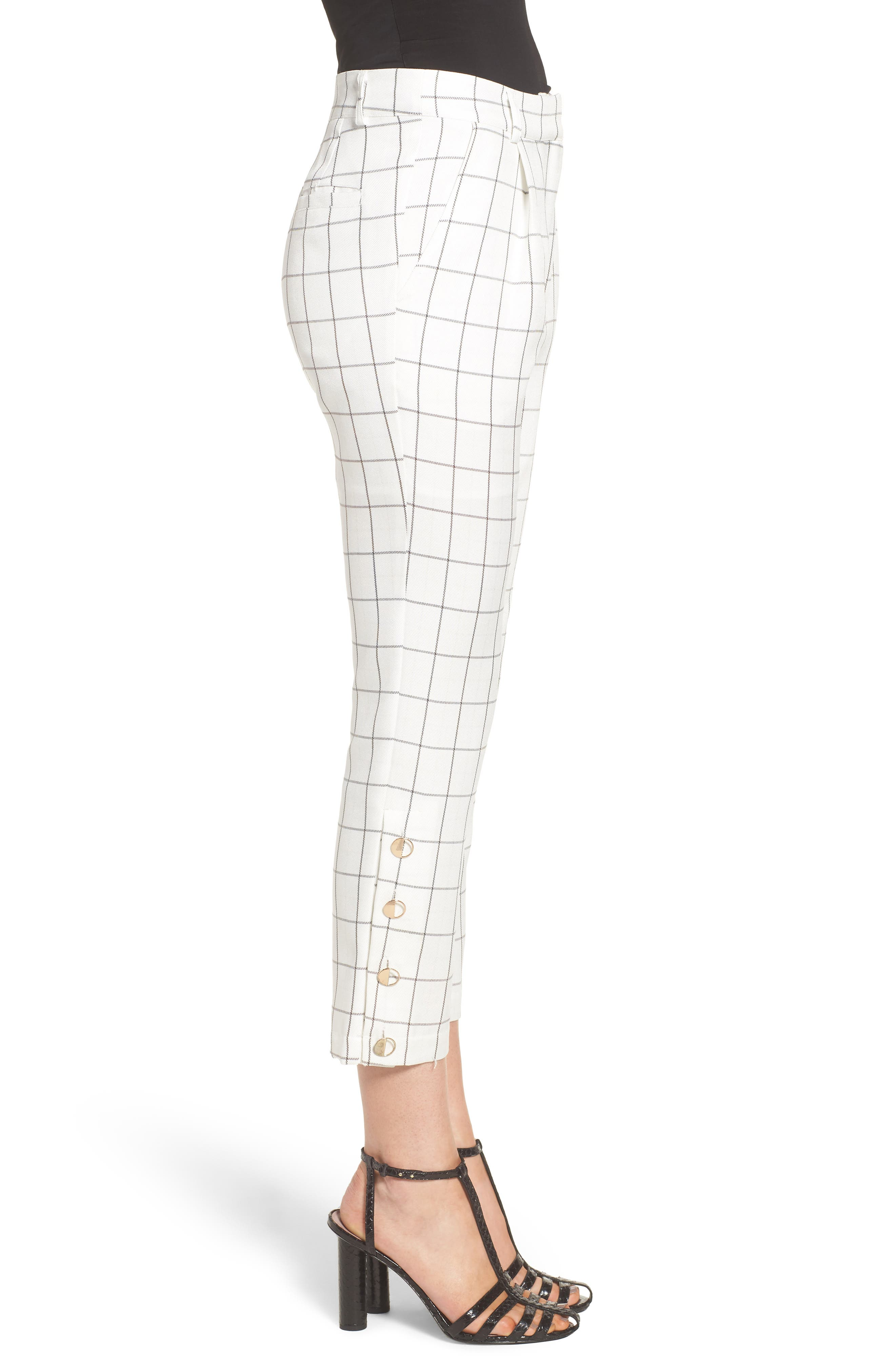 Chriselle x J.O.A. High Waist Ankle Skinny Trousers,                             Alternate thumbnail 6, color,                             White