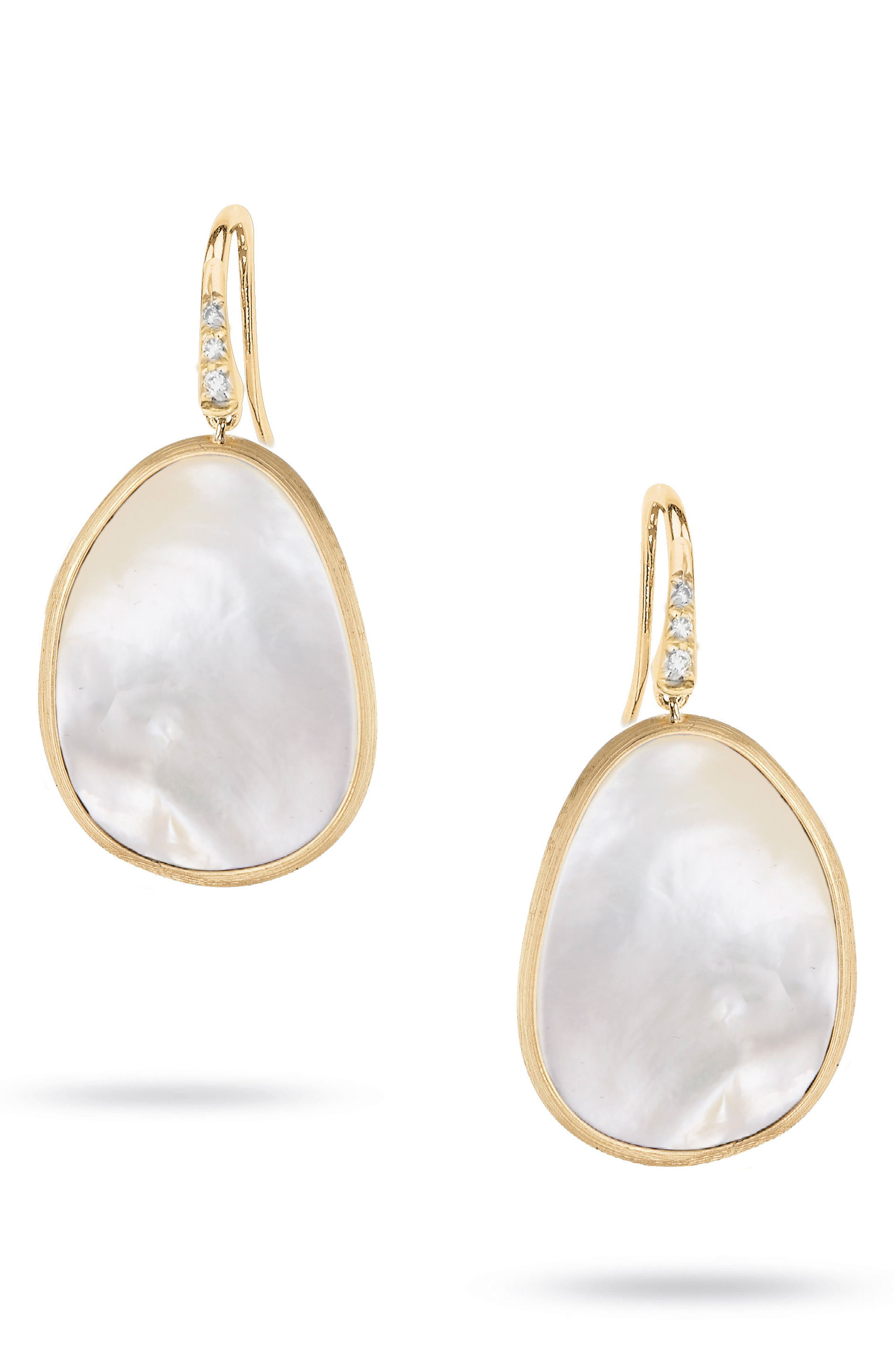 Lunaria Mother of Pearl Drop Earrings,                             Main thumbnail 1, color,                             Yellow Gold