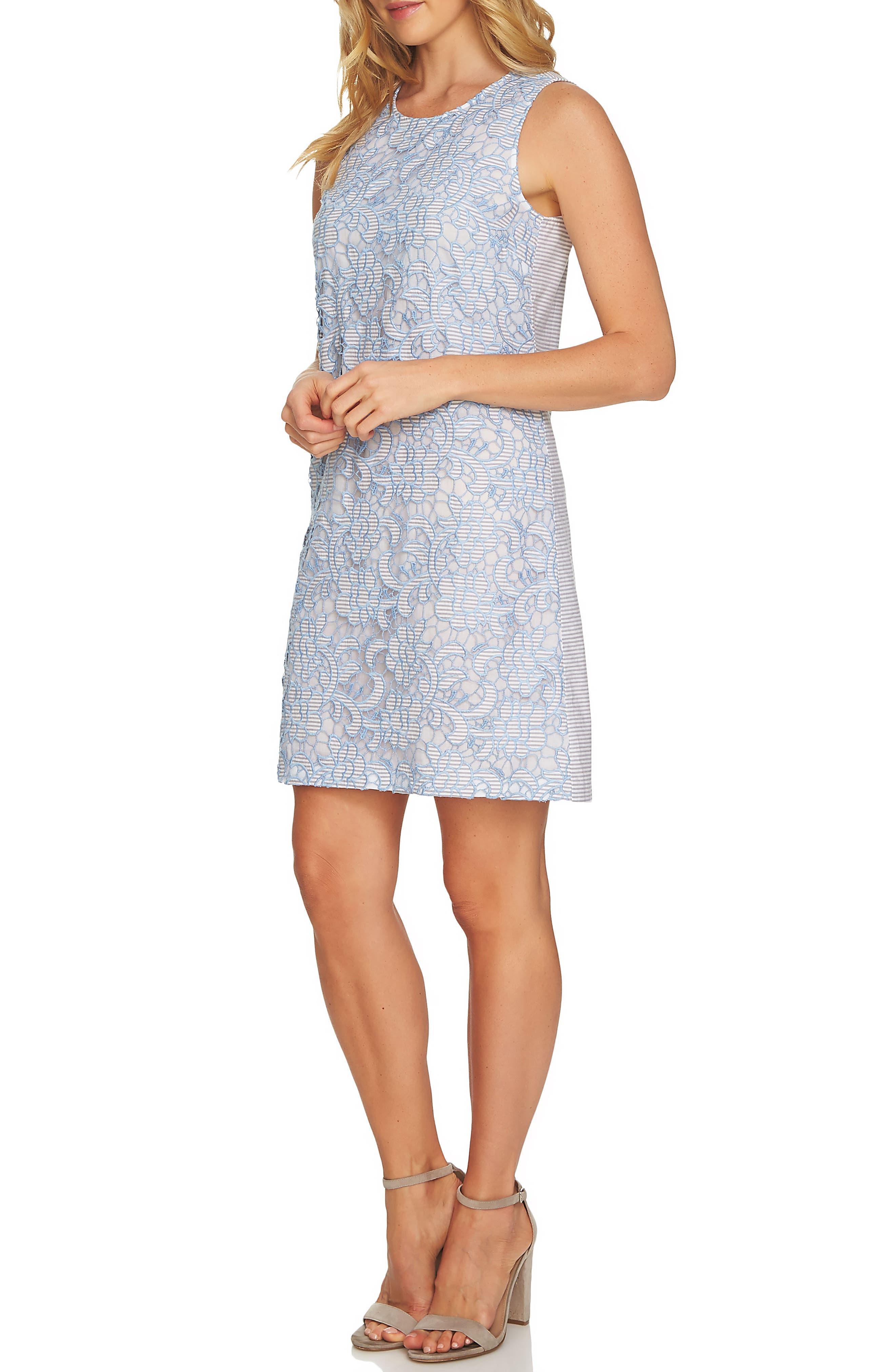 Lace Sheath Dress,                             Alternate thumbnail 3, color,                             Bluebird