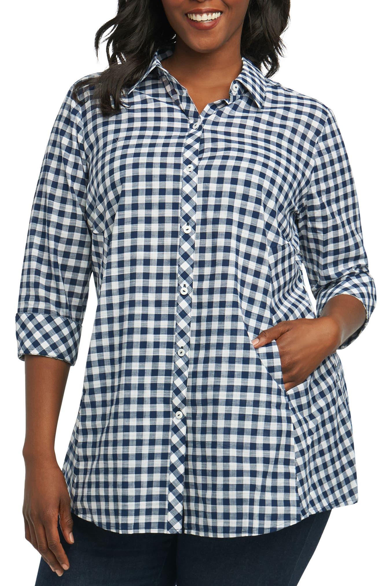 Foxcroft Cici Gingham Tunic Shirt (Plus Size)