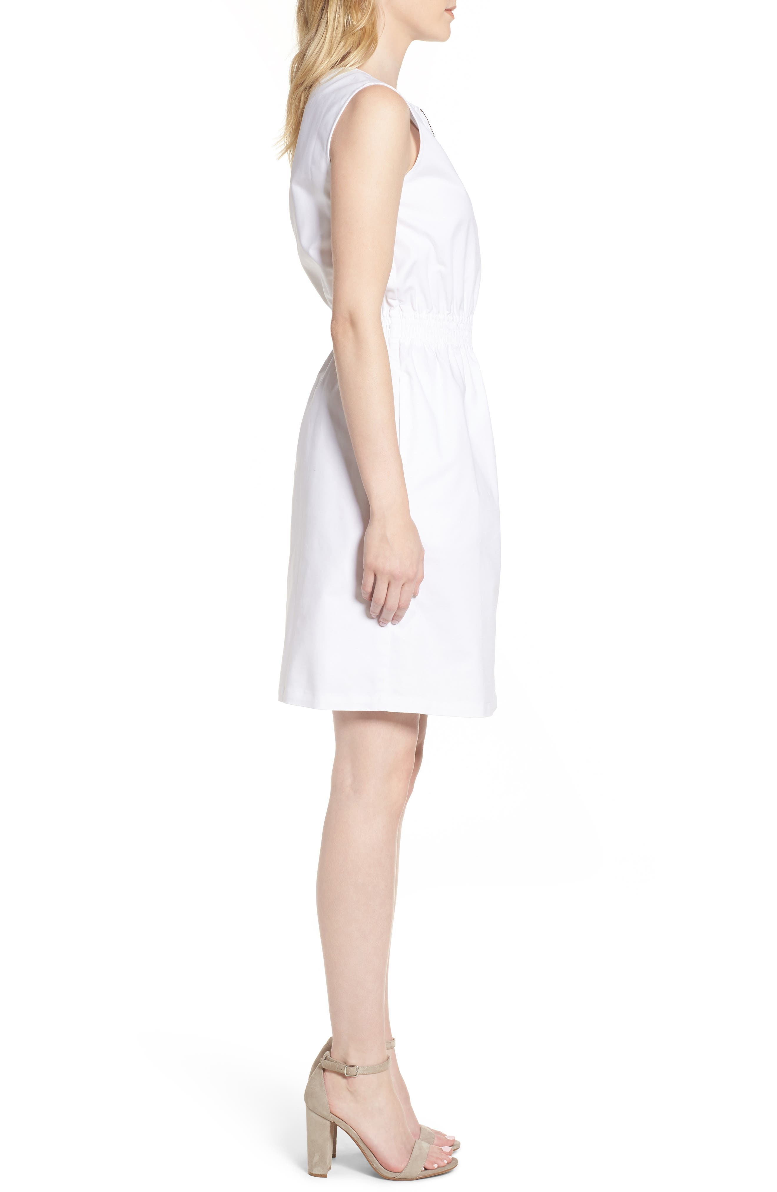 Astoria Zip Front Dress,                             Alternate thumbnail 3, color,                             White