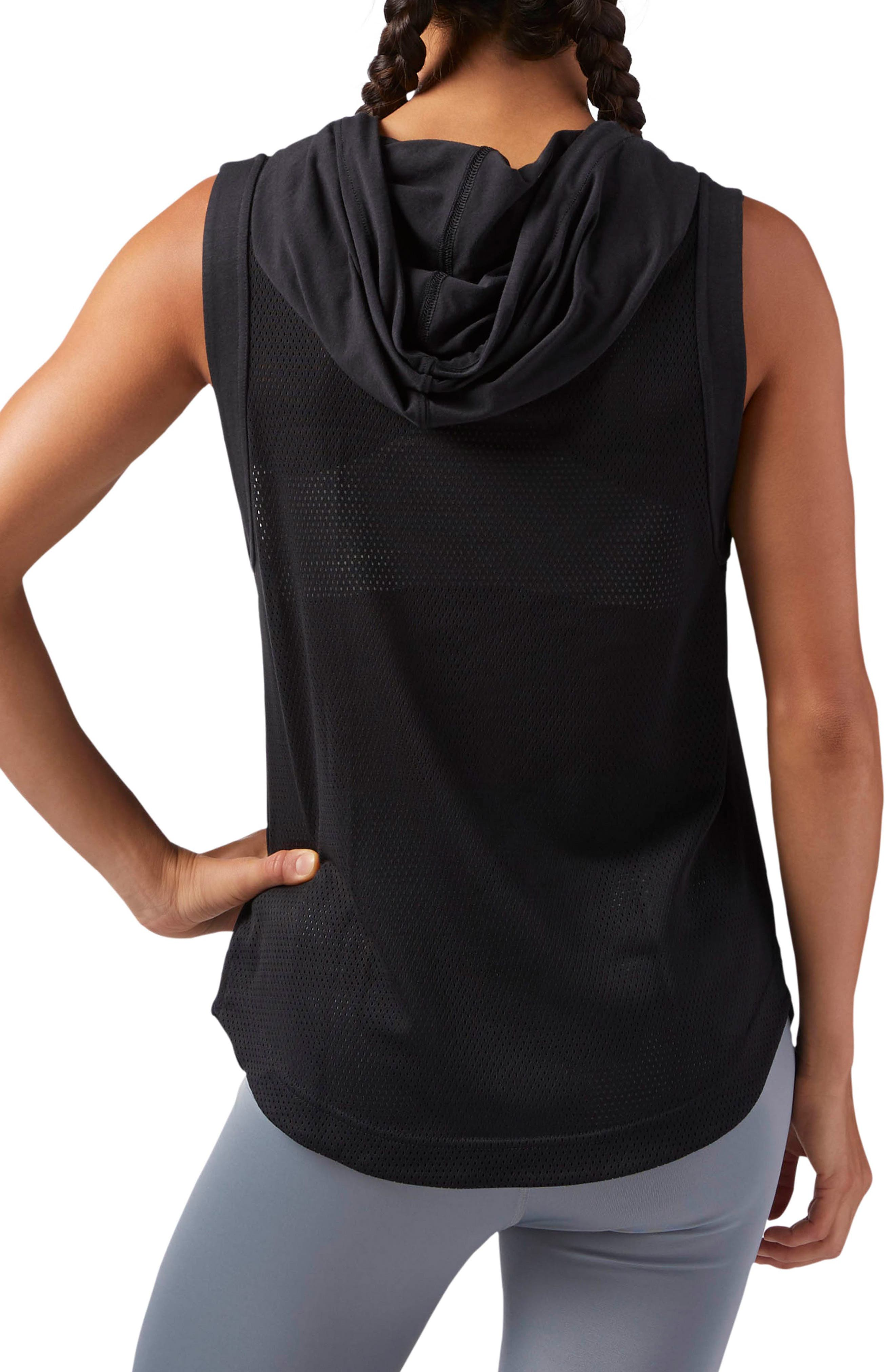 Workout Ready Sleeveless Hoodie,                             Alternate thumbnail 2, color,                             Black