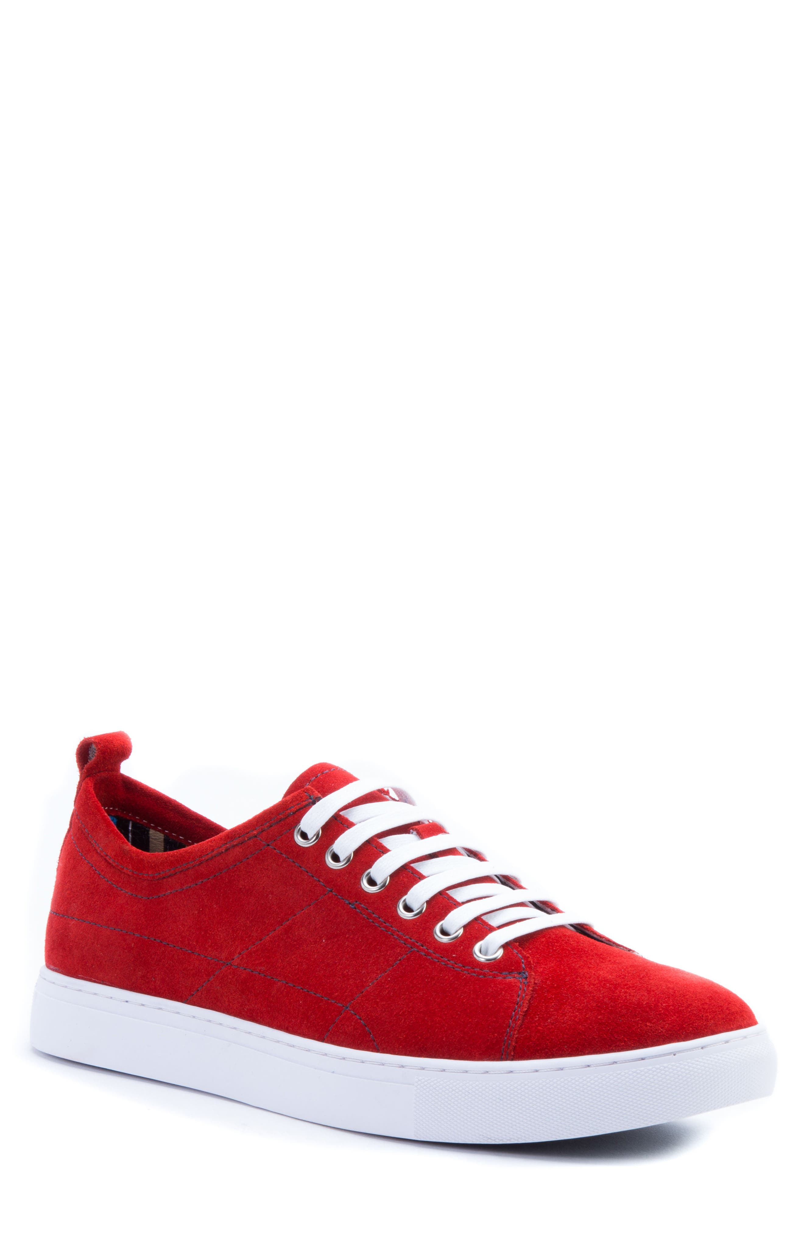 Ernesto Low Top Sneaker,                             Main thumbnail 1, color,                             Red Suede