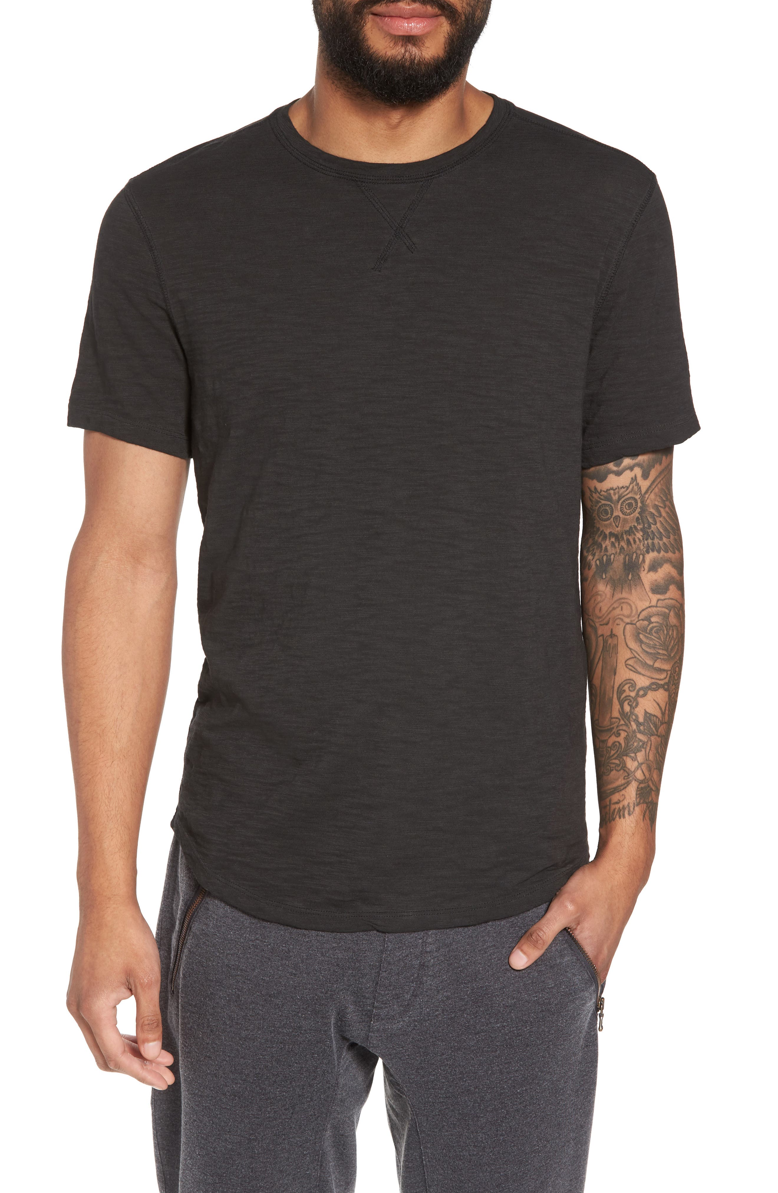 Slim Fit Slubbed T-Shirt,                             Main thumbnail 1, color,                             Black