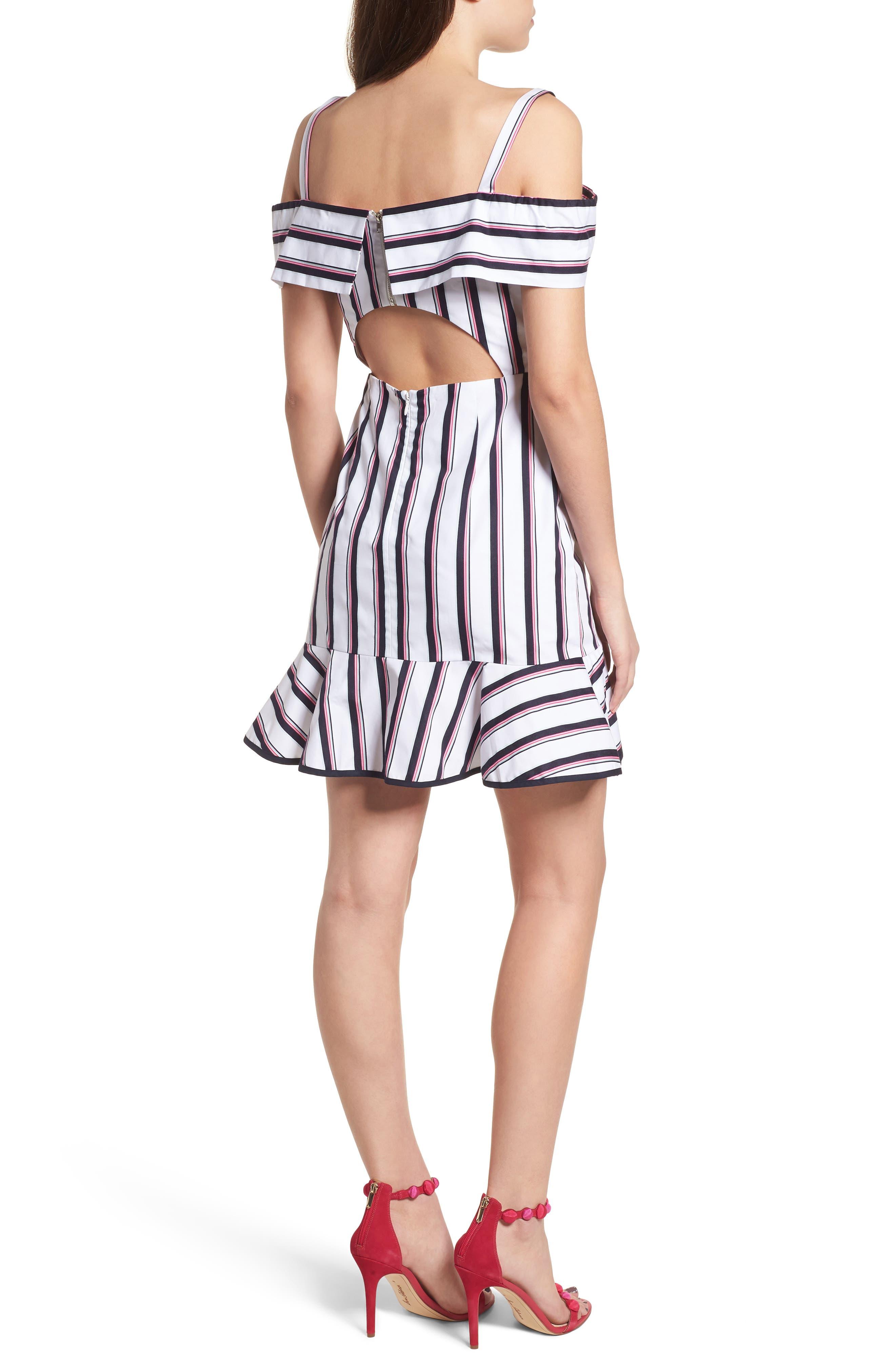 Florence Cold Shoulder Minidress,                             Alternate thumbnail 2, color,                             Ivory/ Navy Stripe