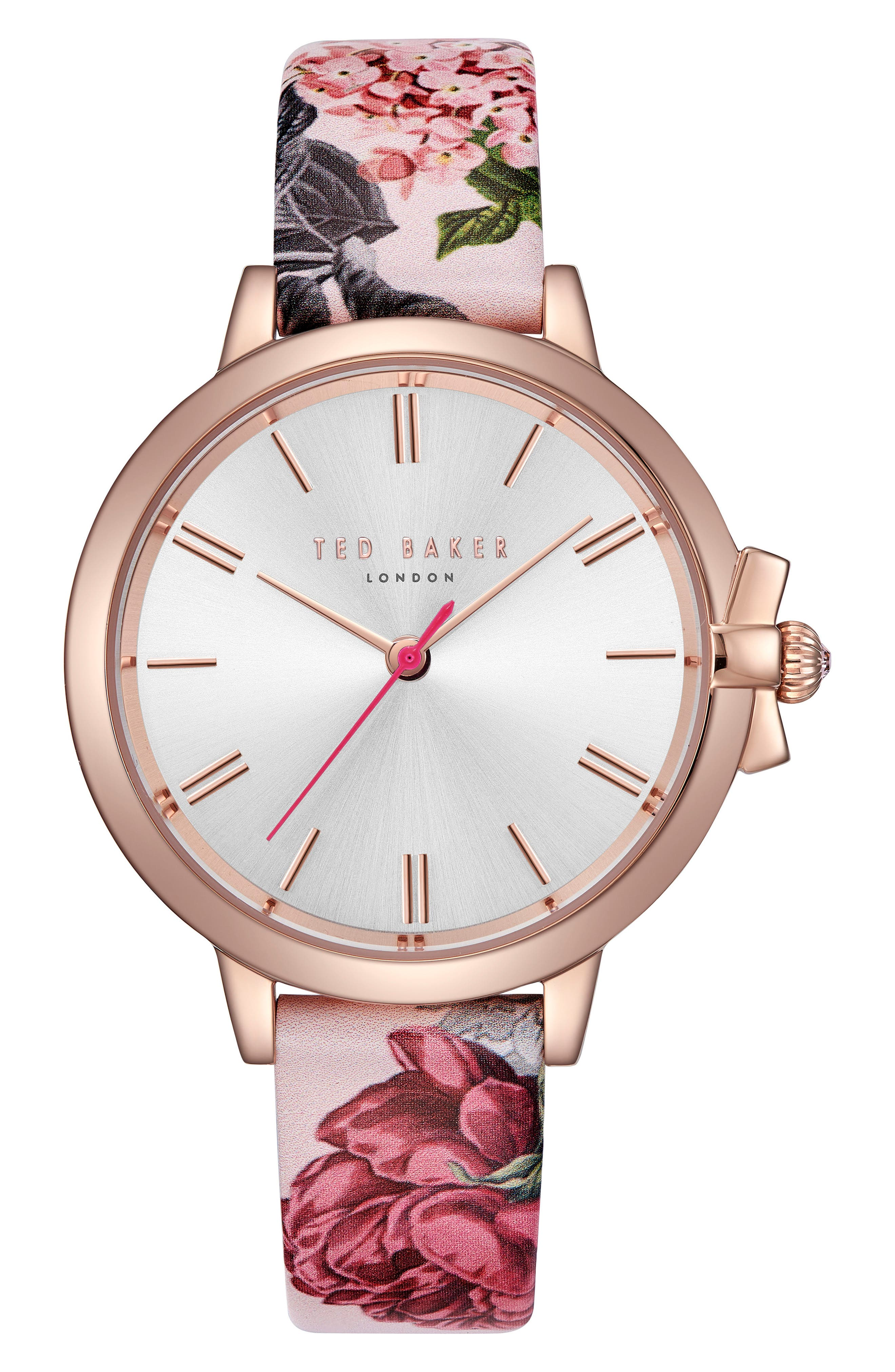 Leather Strap Watch, 36mm,                             Main thumbnail 1, color,                             Printed/ Silver/ Rose Gold