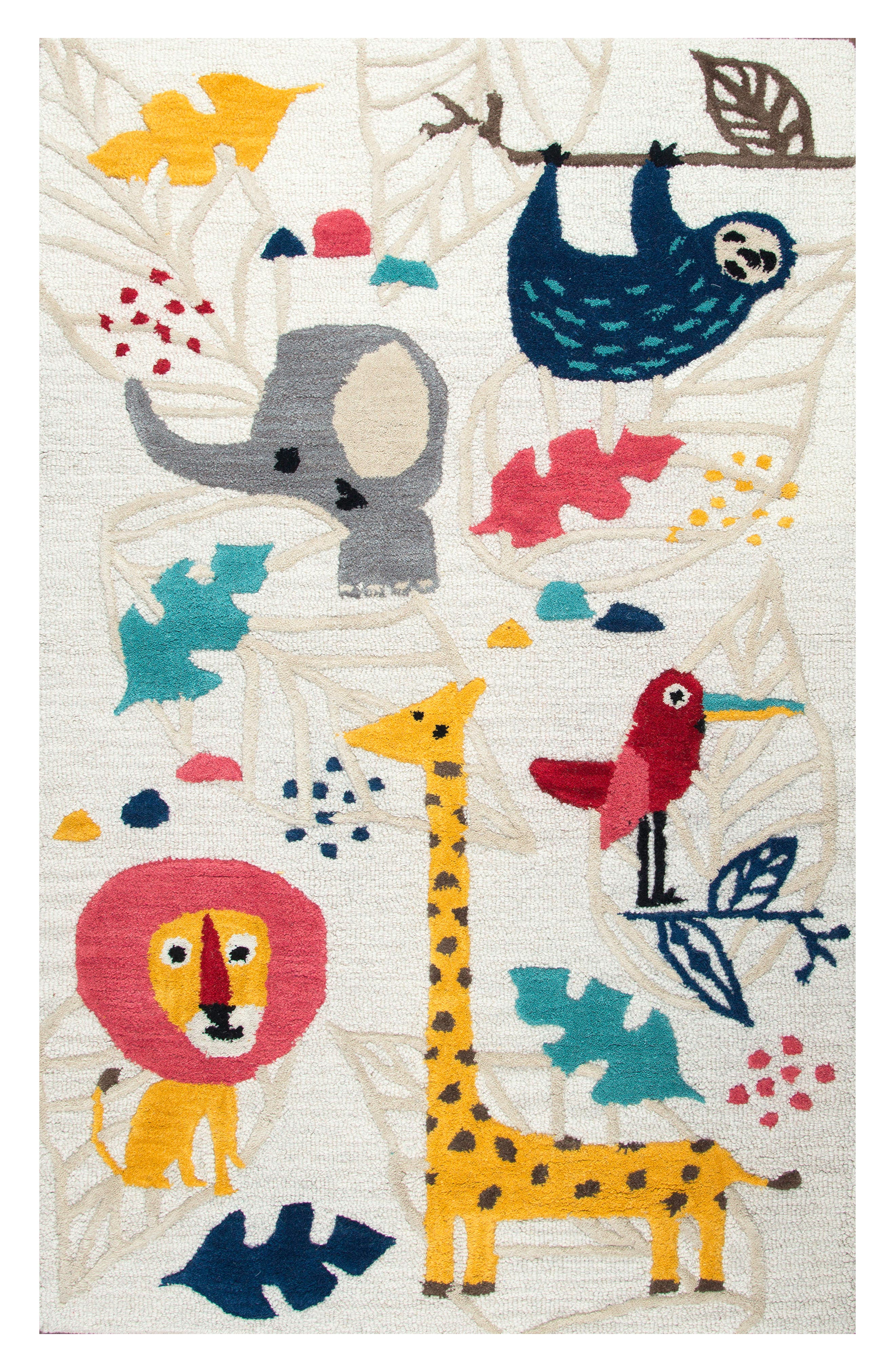 Play Day Zootime Rug,                             Main thumbnail 1, color,                             Ivory
