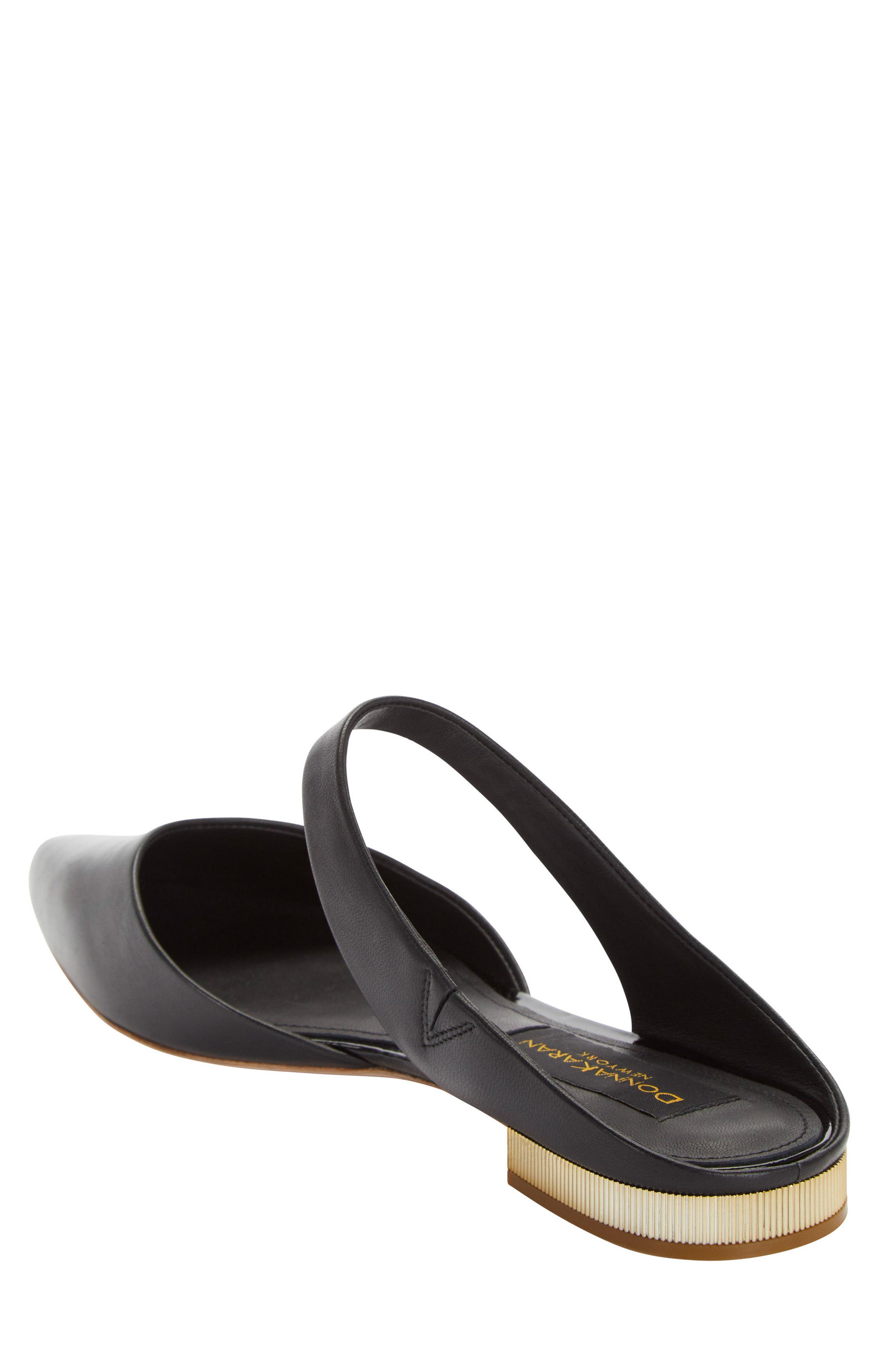 Donna Karan Paris Pointy Toe Mule,                             Alternate thumbnail 2, color,                             Black Leather