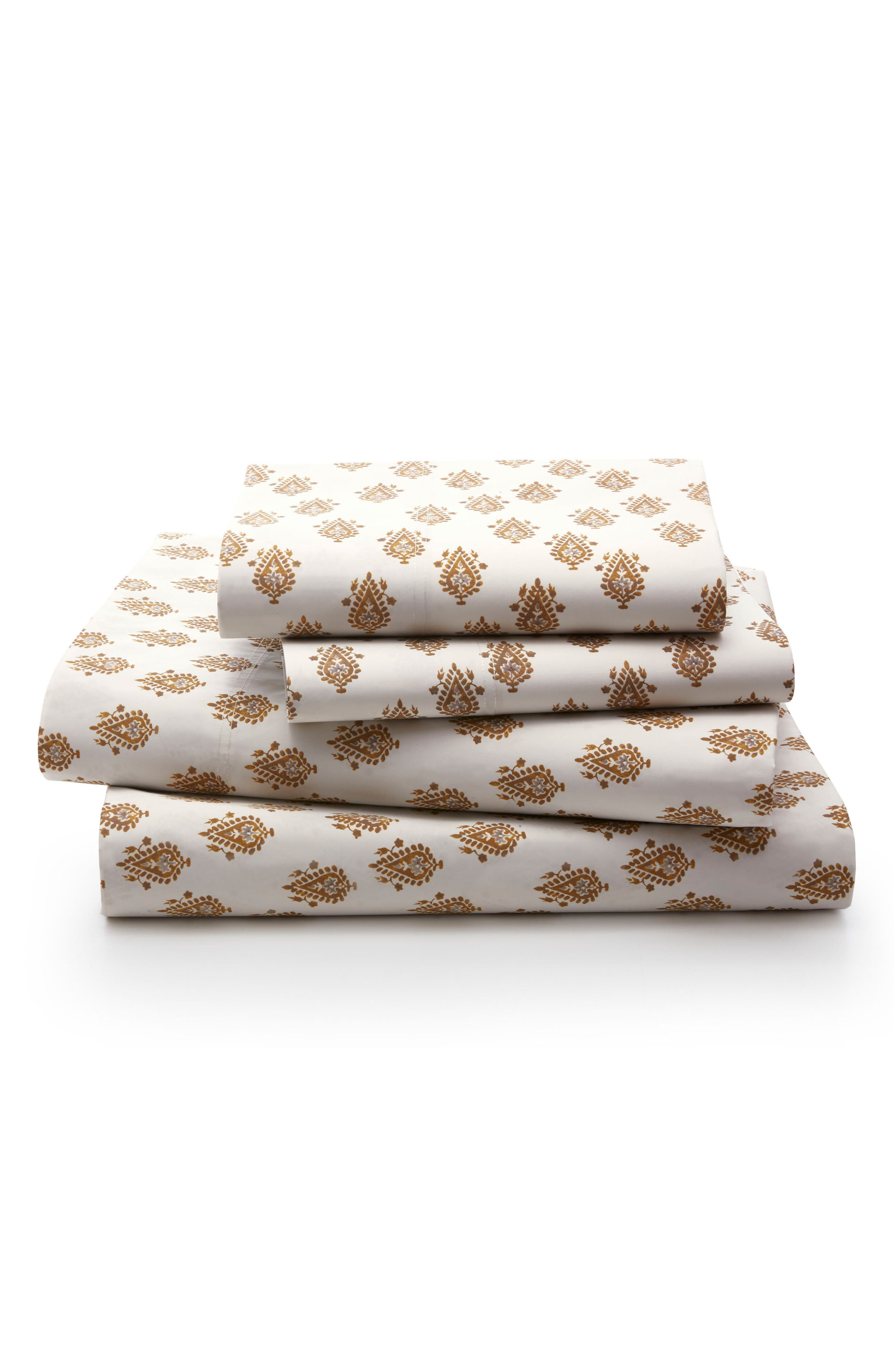 Flame Paisley 300 Thread Count Sheet Set,                         Main,                         color, Ochre/ Gold