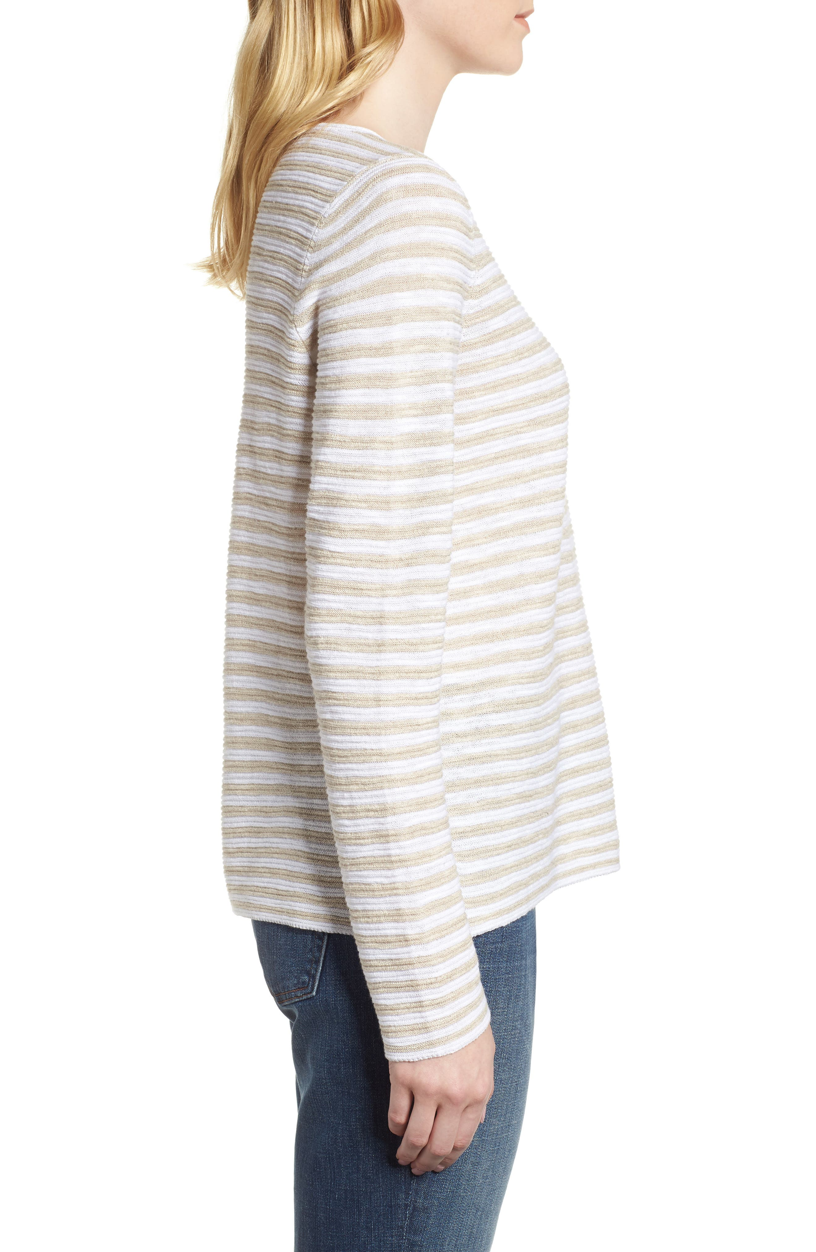 Stripe Organic Linen & Cotton Sweater,                             Alternate thumbnail 3, color,                             White/ Natural