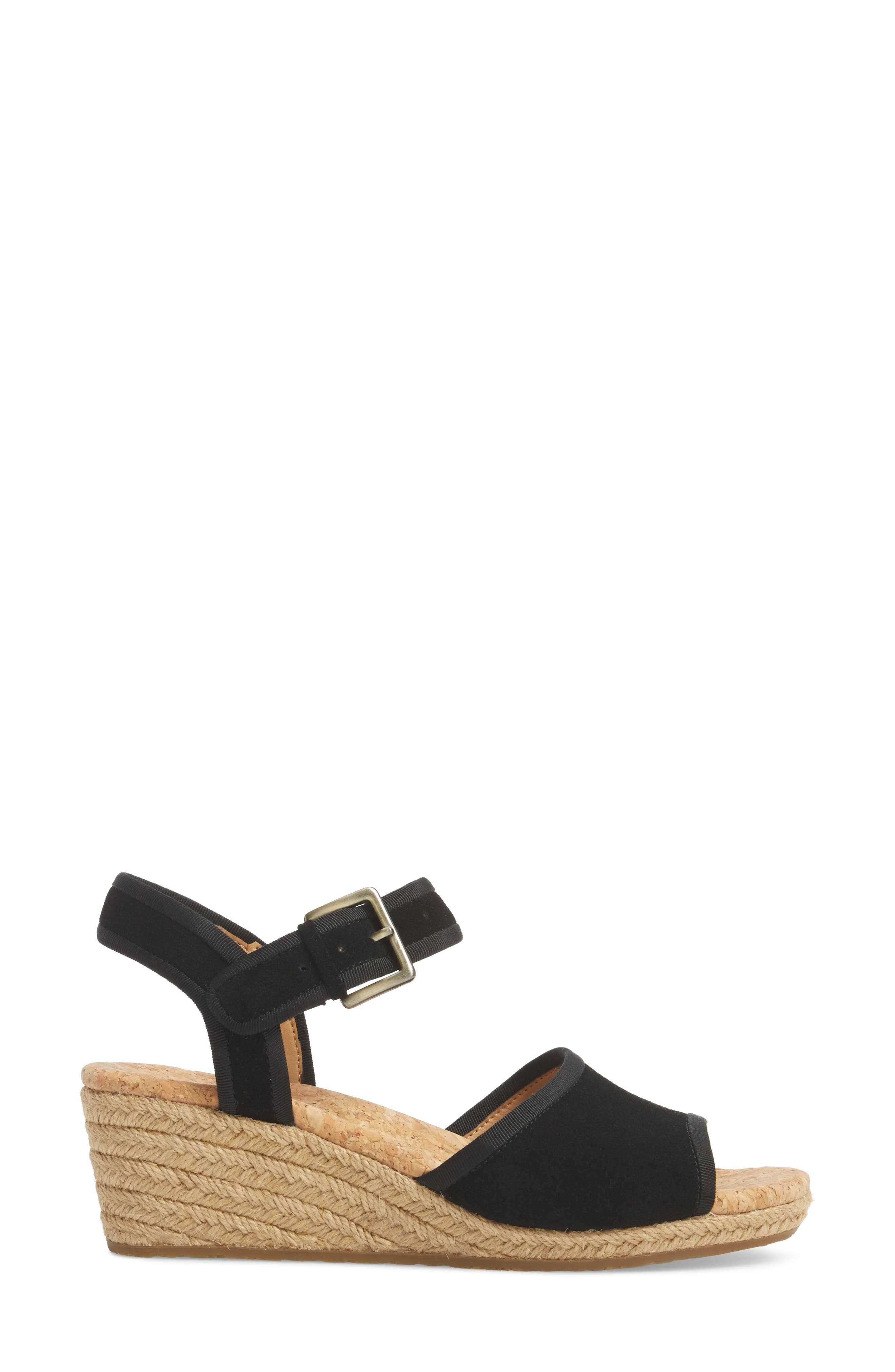 Maybell Wedge Sandal,                             Alternate thumbnail 3, color,                             Black Suede