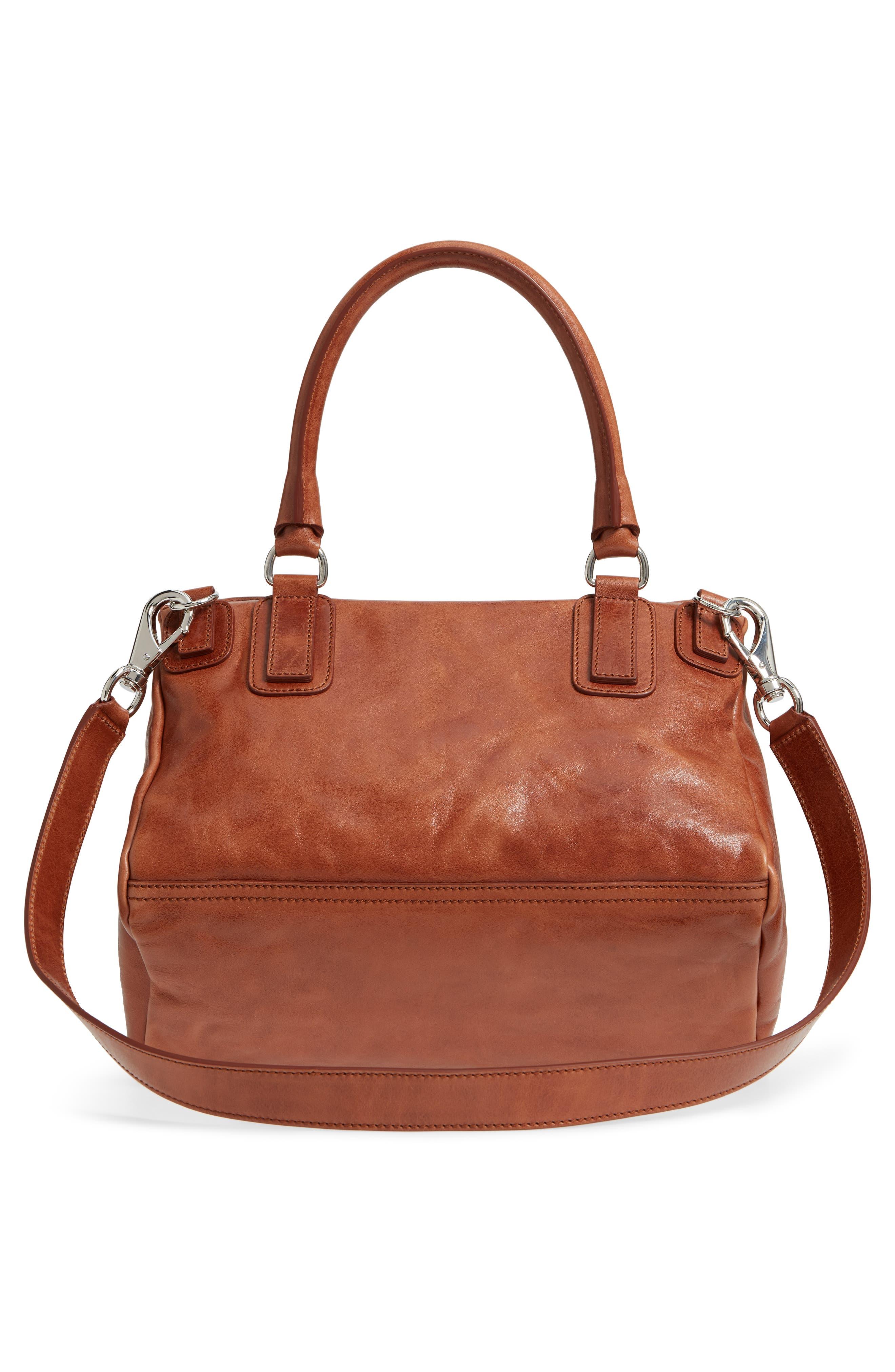 Medium Pandora Shiny Aged Leather Satchel,                             Alternate thumbnail 3, color,                             Cognac