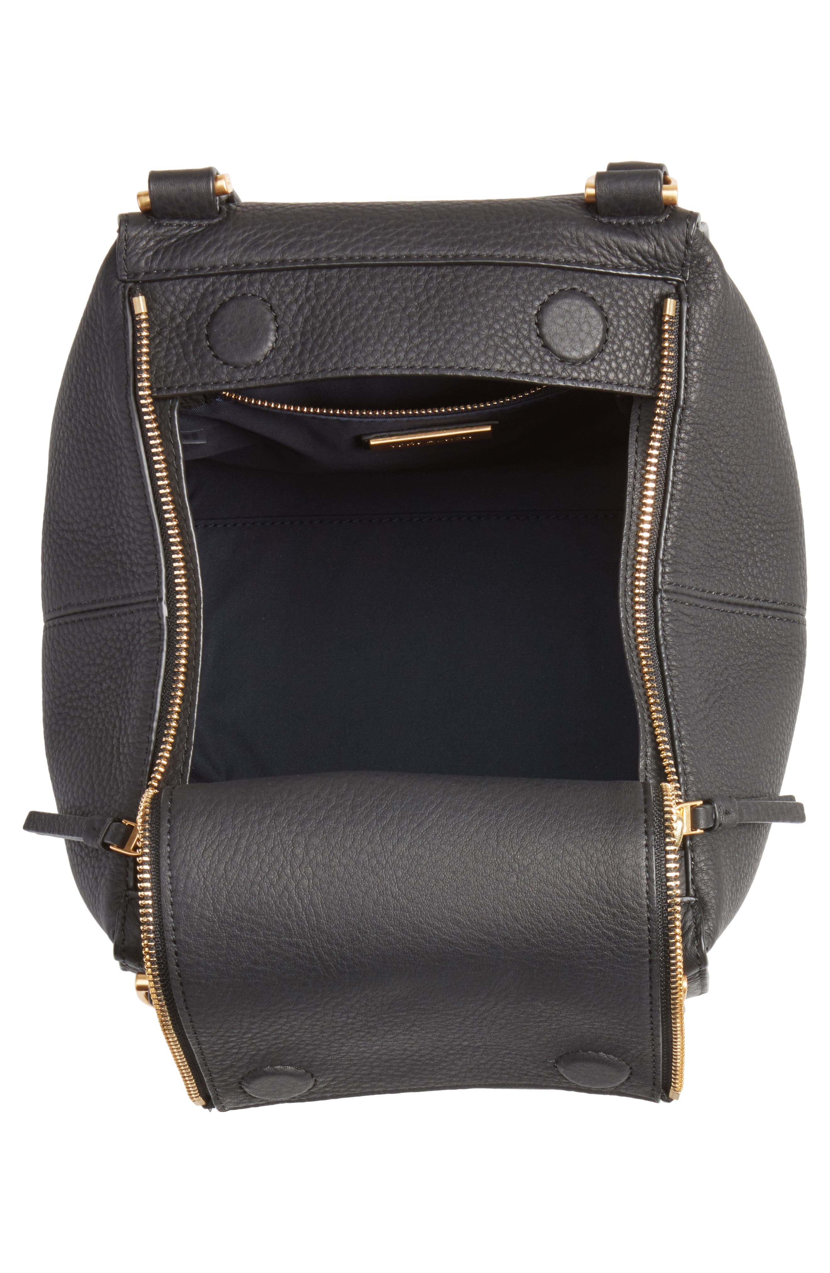 Half Moon Leather Satchel,                             Alternate thumbnail 4, color,                             Black