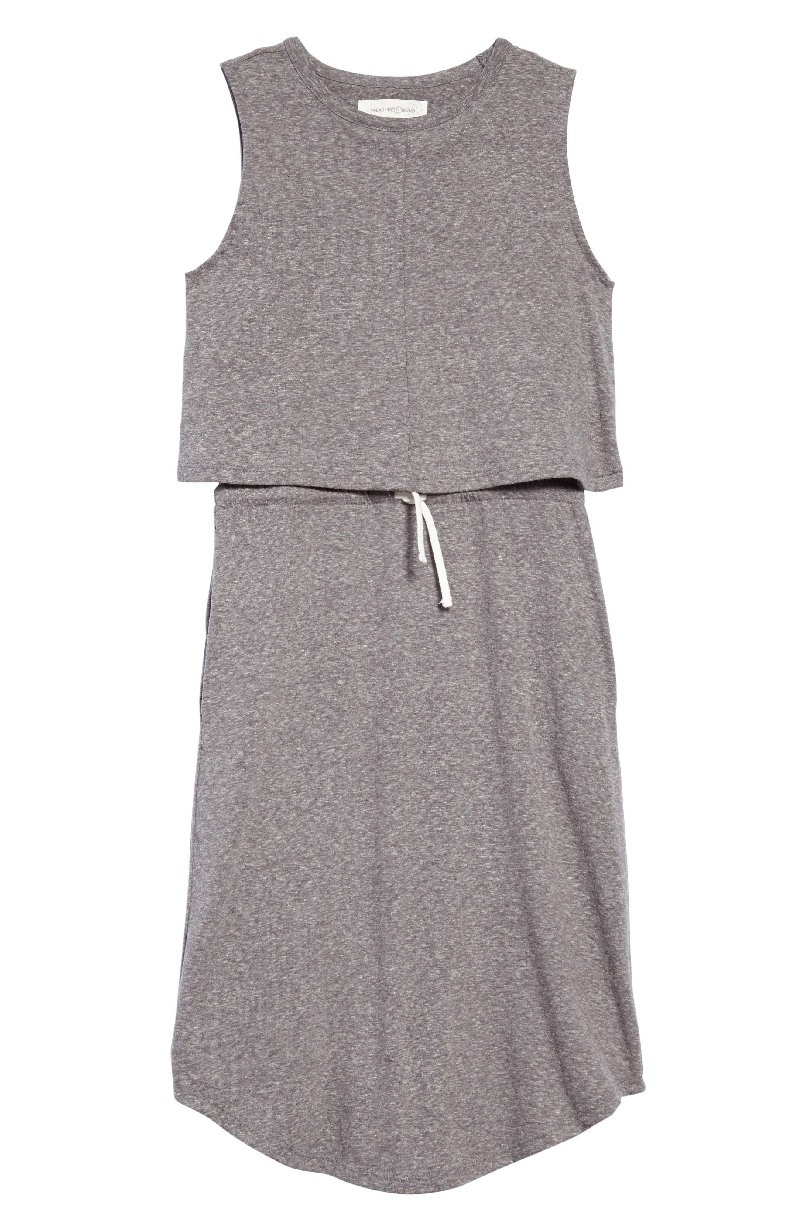 Knit Popover Dress,                         Main,                         color, Grey Medium Heather