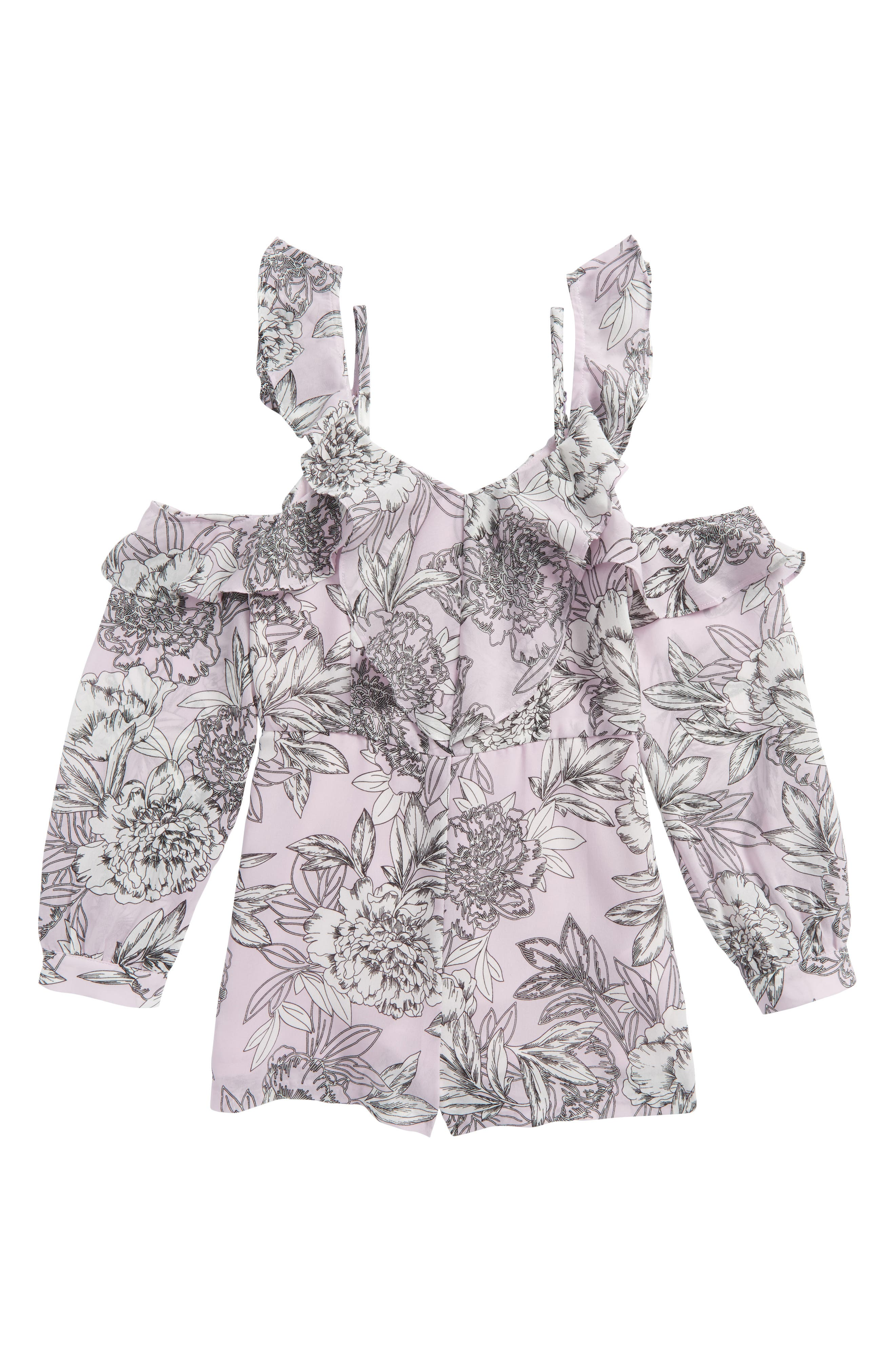 Edrie Ruffle Cold Shoulder Romper,                             Main thumbnail 1, color,                             Orchid Frill