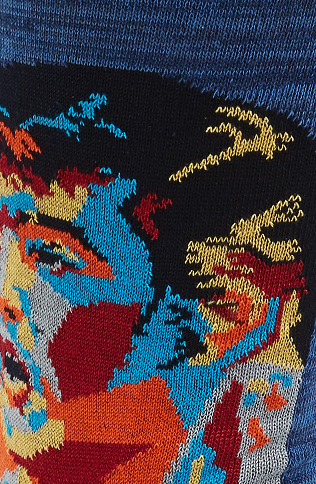 Stripe Mercerized Cotton Blend Socks,                             Alternate thumbnail 2, color,                             Night Blue