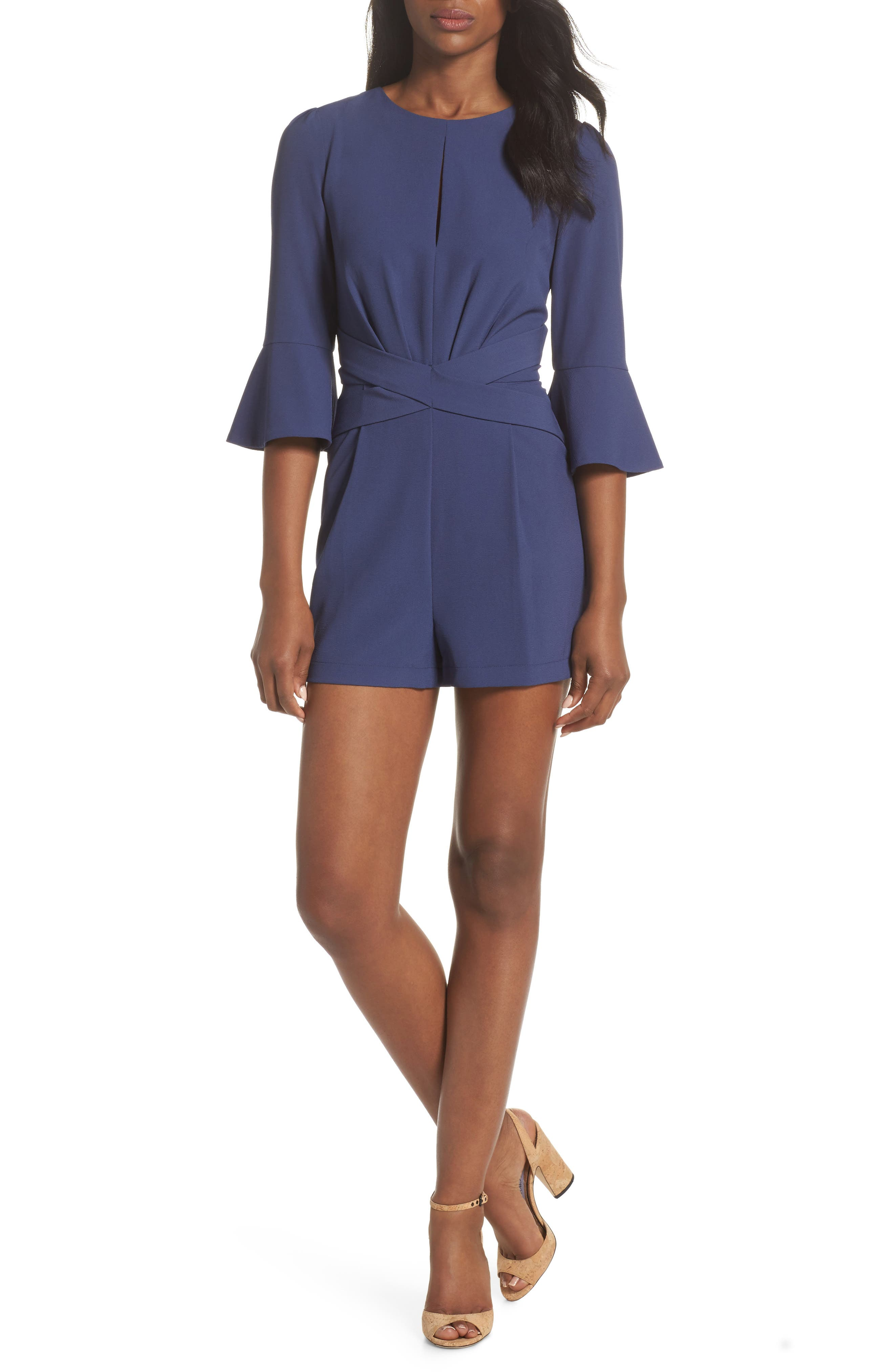Meredith Bell Cuff Romper,                             Main thumbnail 1, color,                             Denim Blue