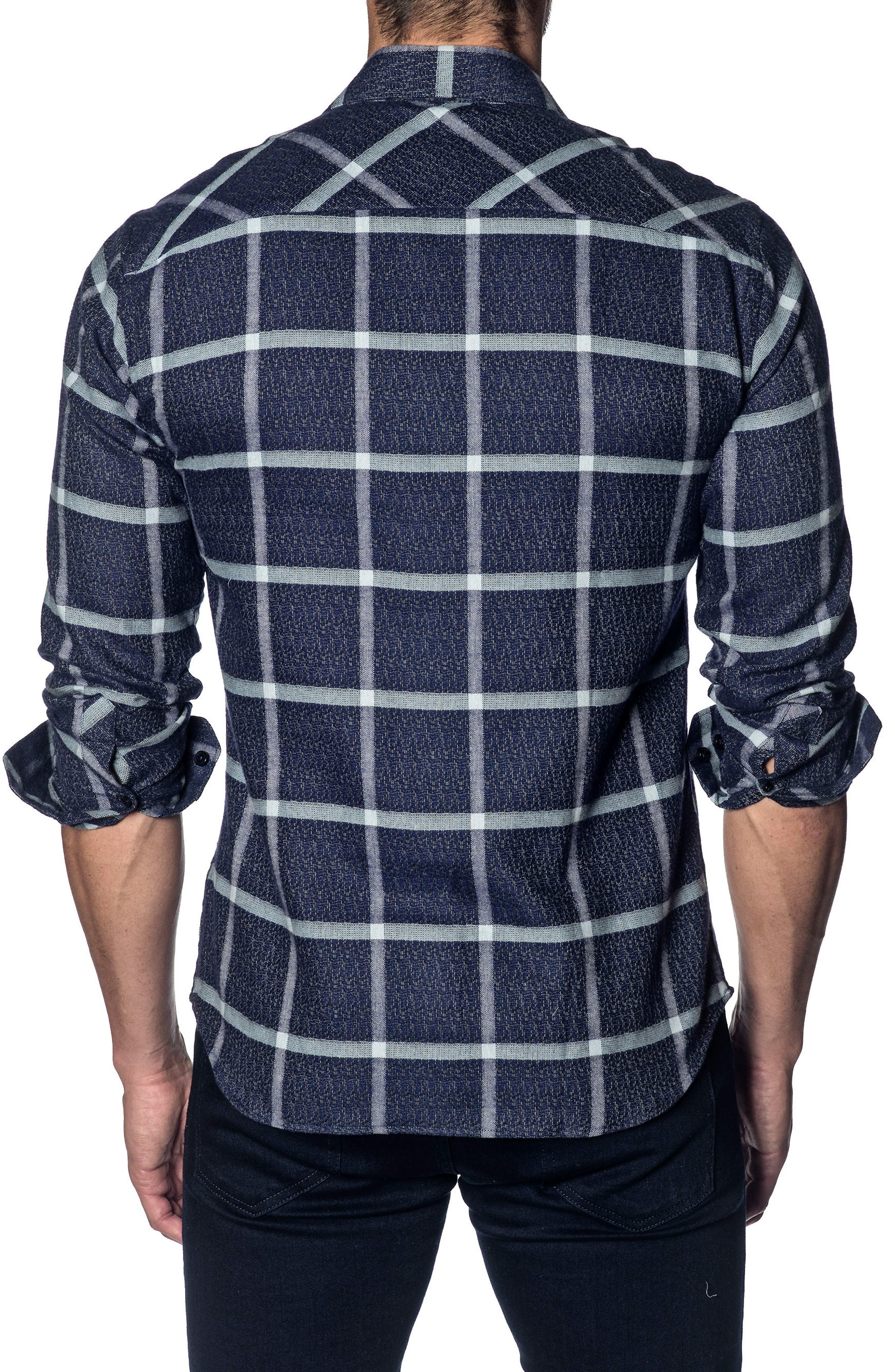Trim Fit Grid Sport Shirt,                             Alternate thumbnail 2, color,                             Dark Navy Plaid