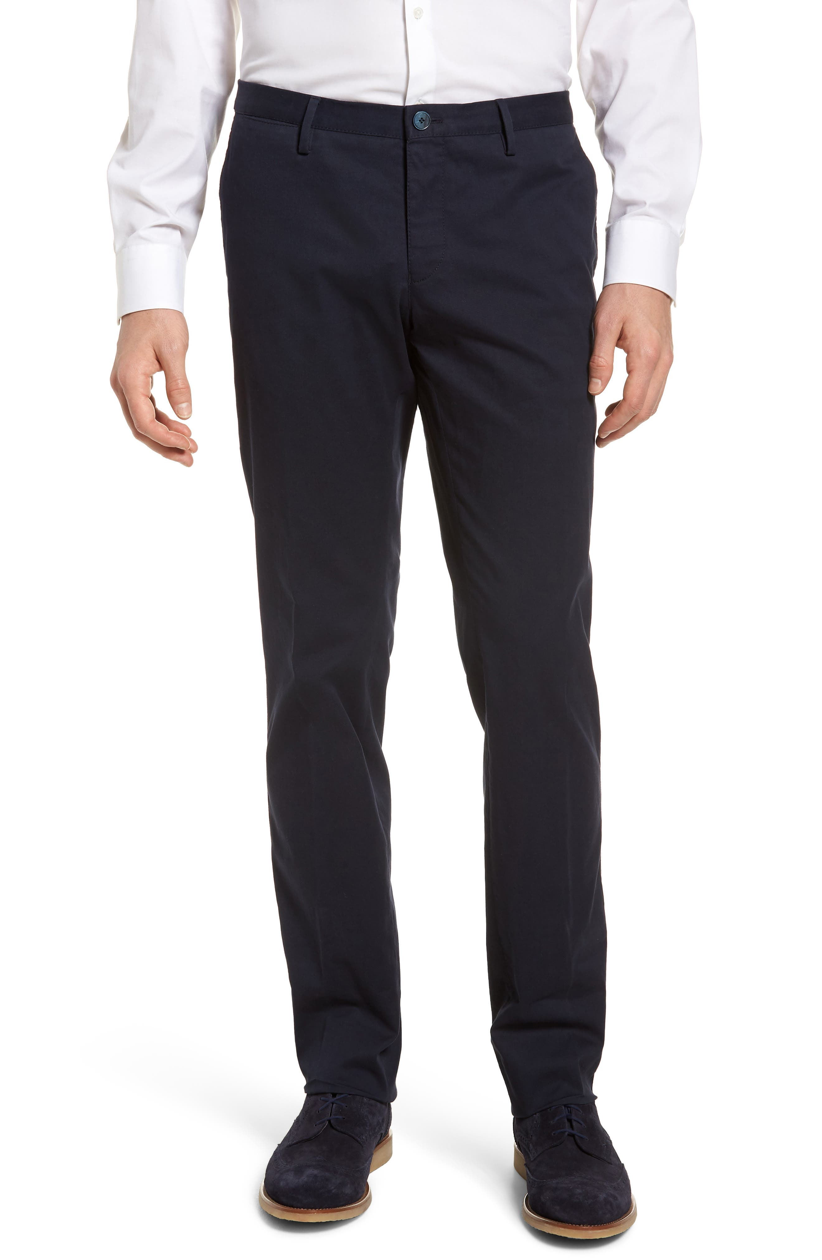 Stanino-W Flat Front Stretch Cotton Trousers,                             Main thumbnail 1, color,                             Navy