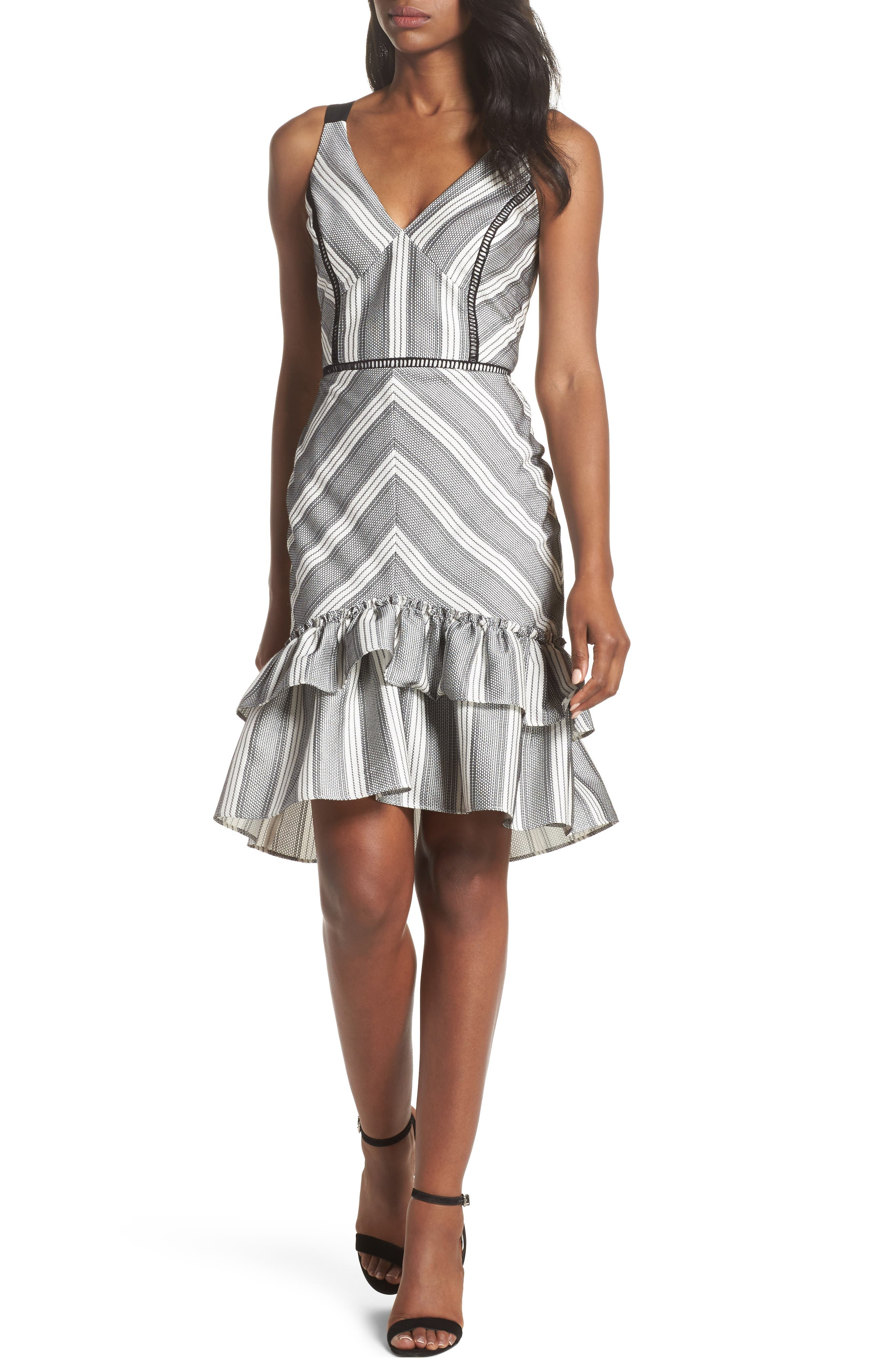 Lucille Sleeveless Ruffle Dress,                         Main,                         color, Black/ White