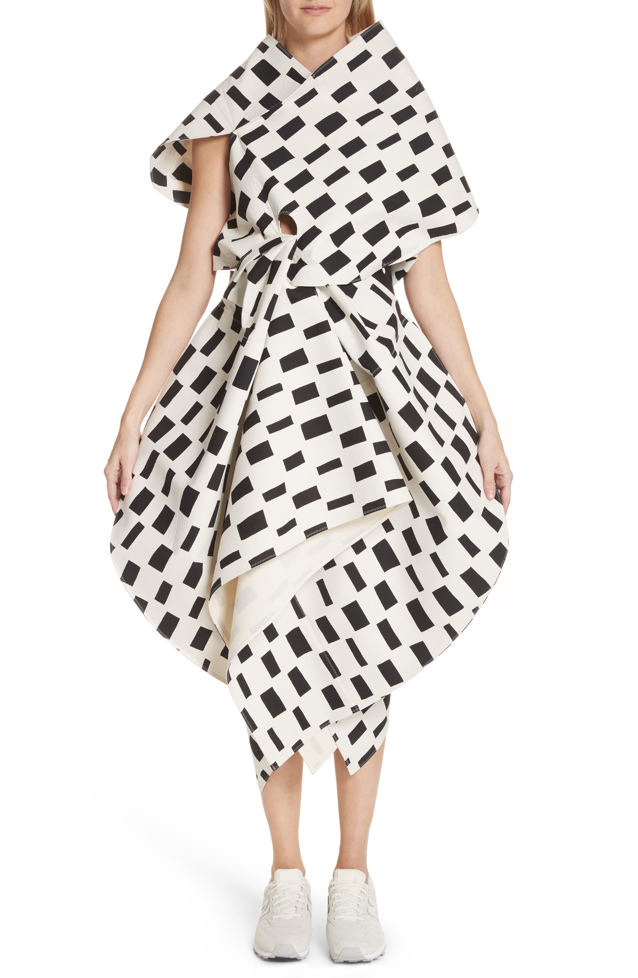 Interweave Geo Print Dress,                             Main thumbnail 1, color,                             Off White/ Black