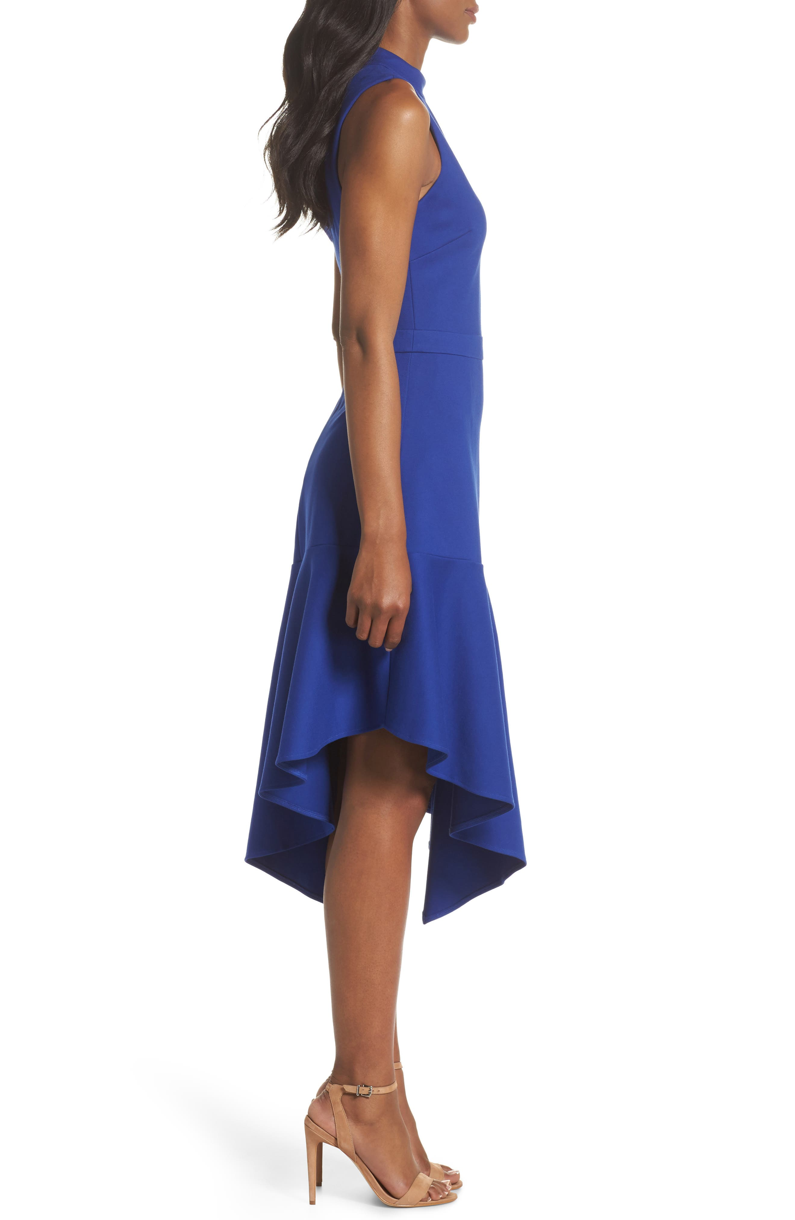 Nessa Ponte Midi Dress,                             Alternate thumbnail 3, color,                             Cobalt