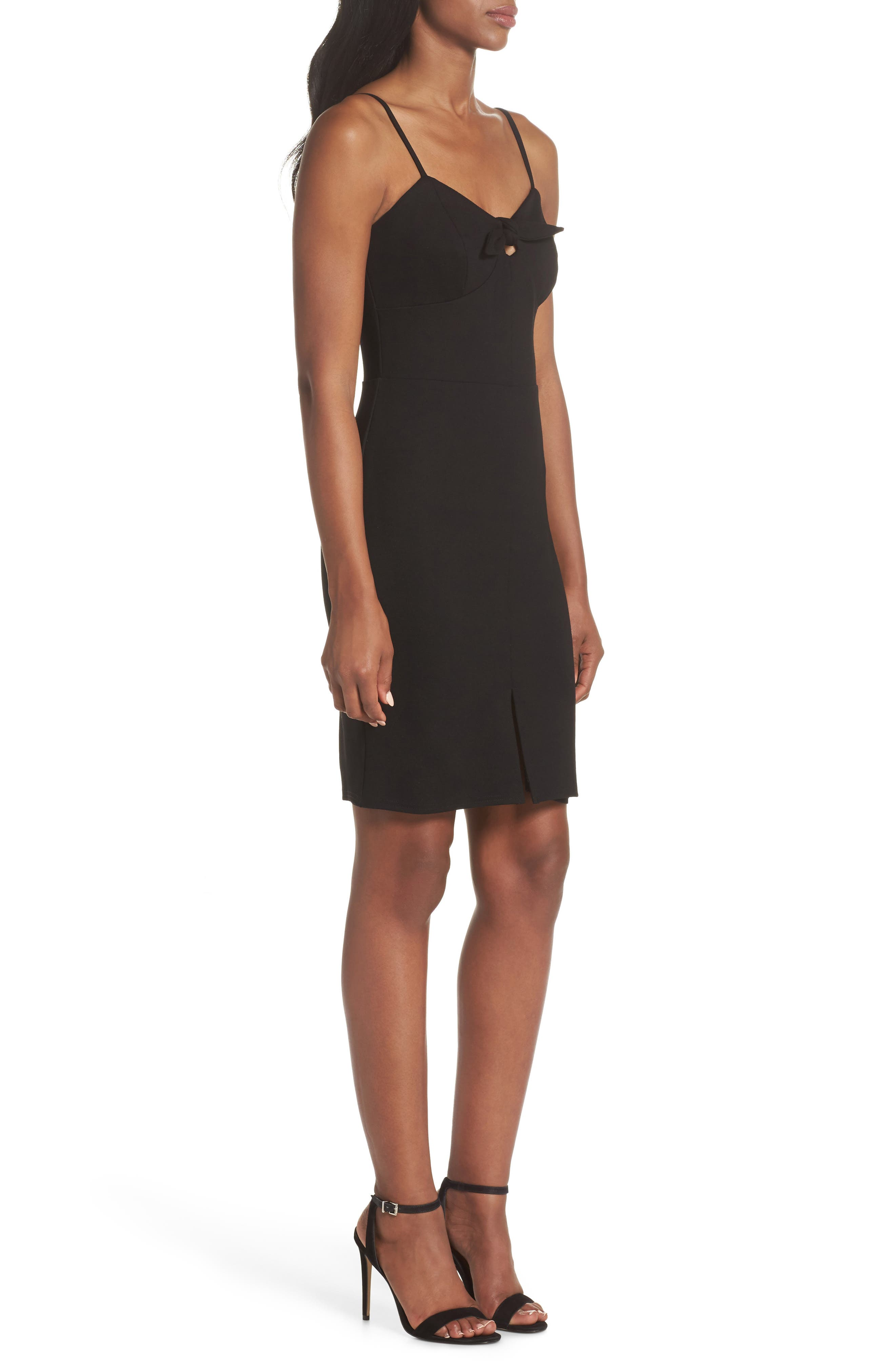 Raynelle Tie Front Sheath Dress,                             Alternate thumbnail 3, color,                             Black