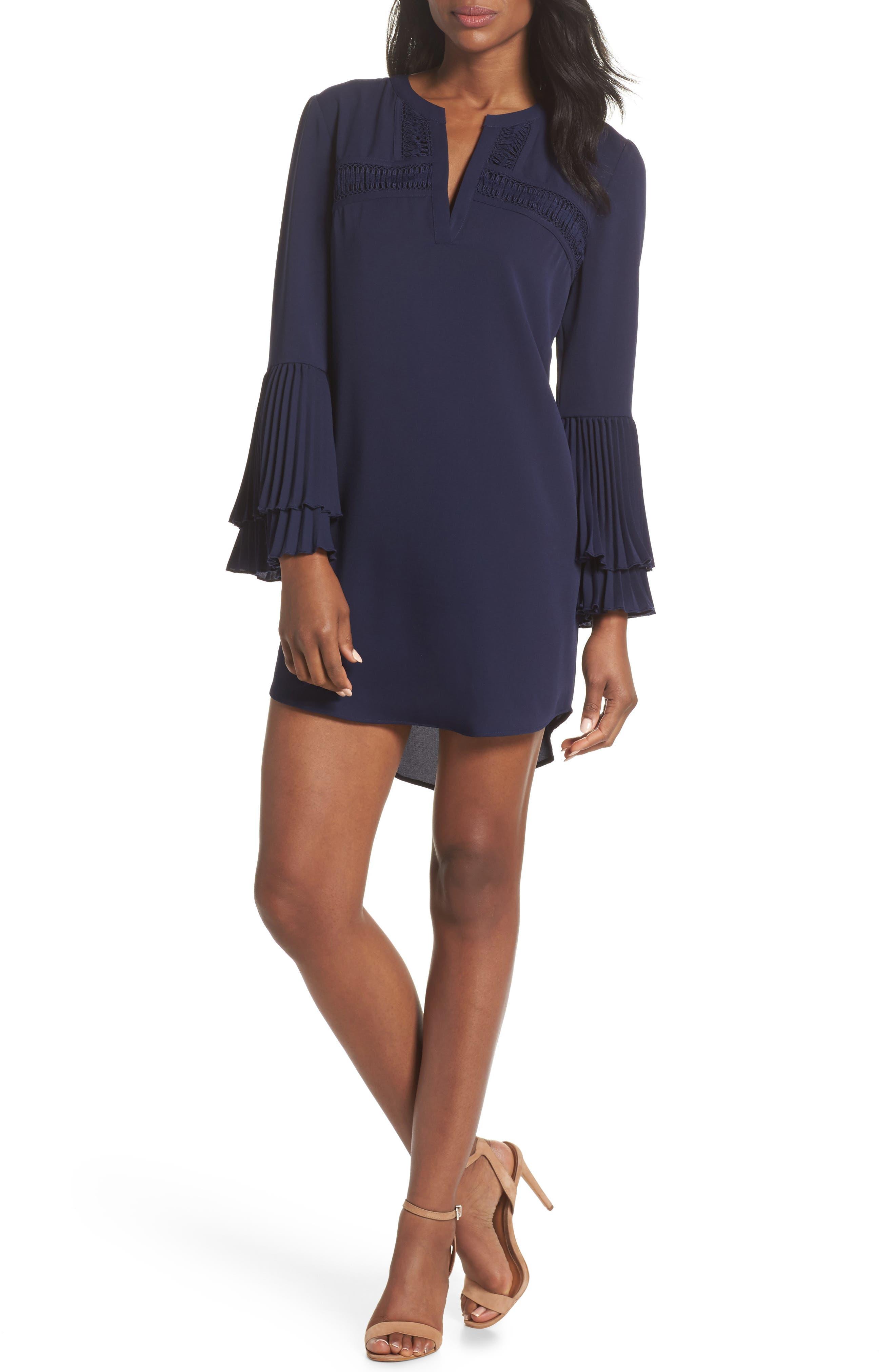 Elissa Pleat Cuff Shift Dress,                             Main thumbnail 1, color,                             Navy