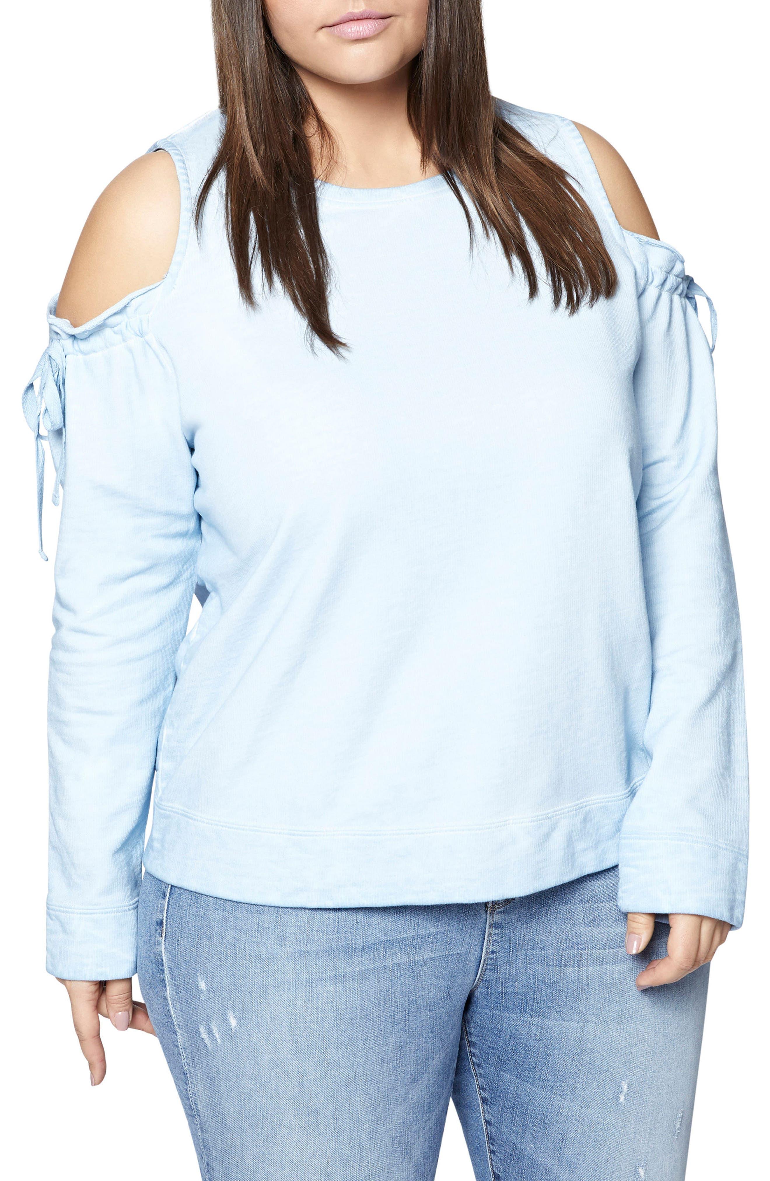 Alternate Image 1 Selected - Sanctuary Parkside Cold Shoulder Sweatshirt (Plus Size)