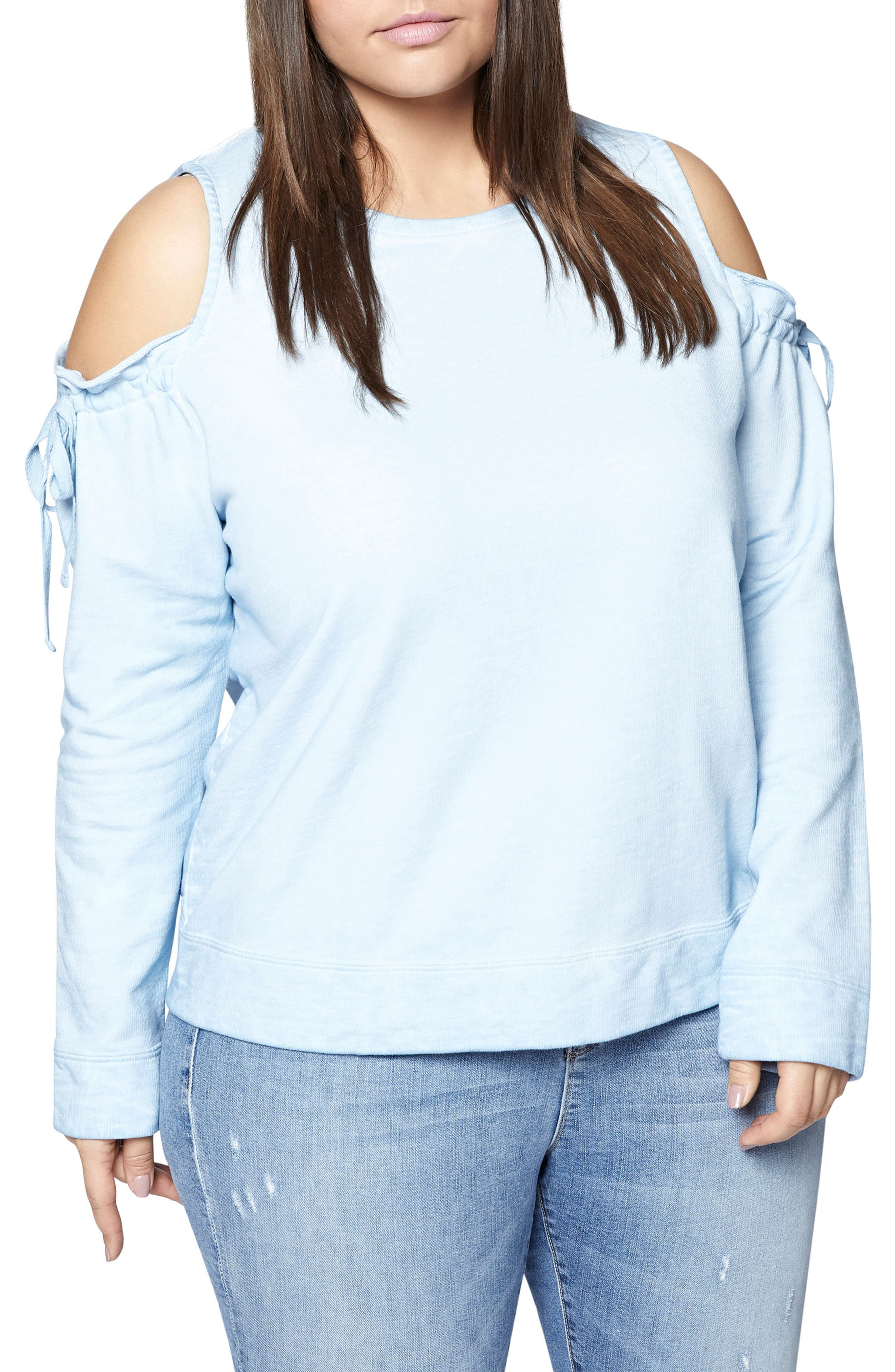 Main Image - Sanctuary Parkside Cold Shoulder Sweatshirt (Plus Size)