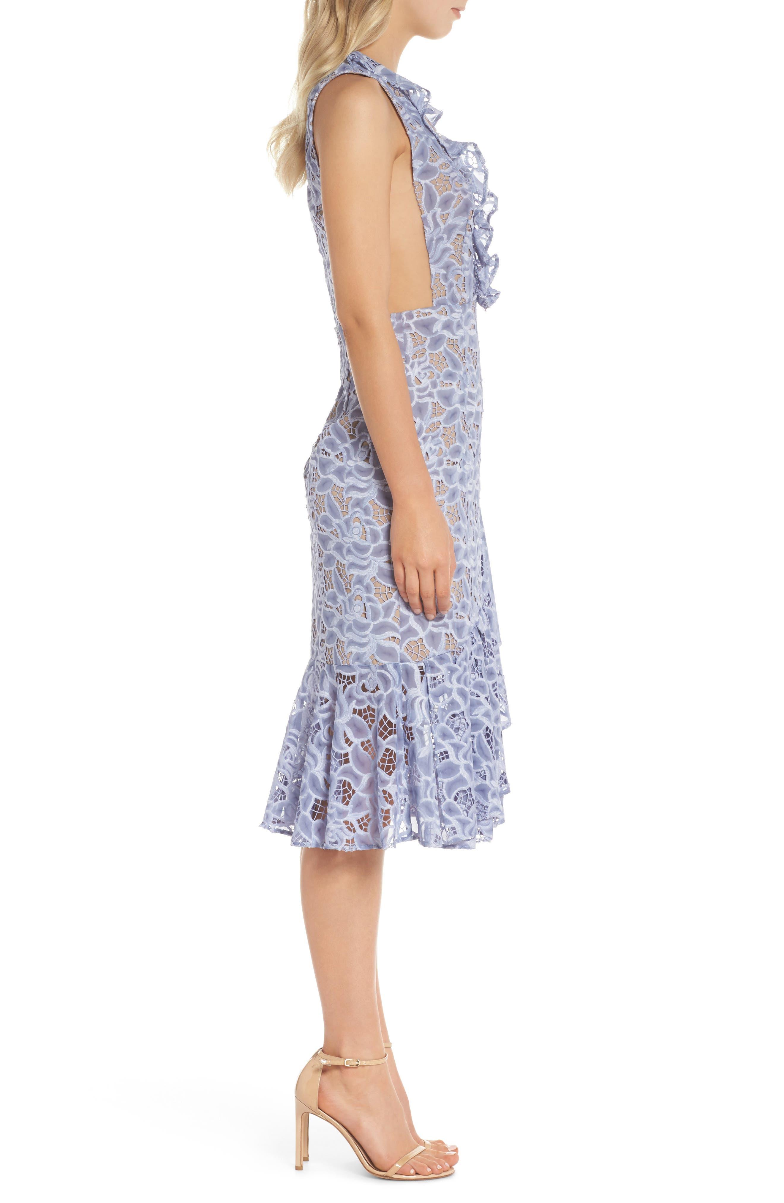 Amelia Ruffle Lace Dress,                             Alternate thumbnail 3, color,                             Cornflower Blue