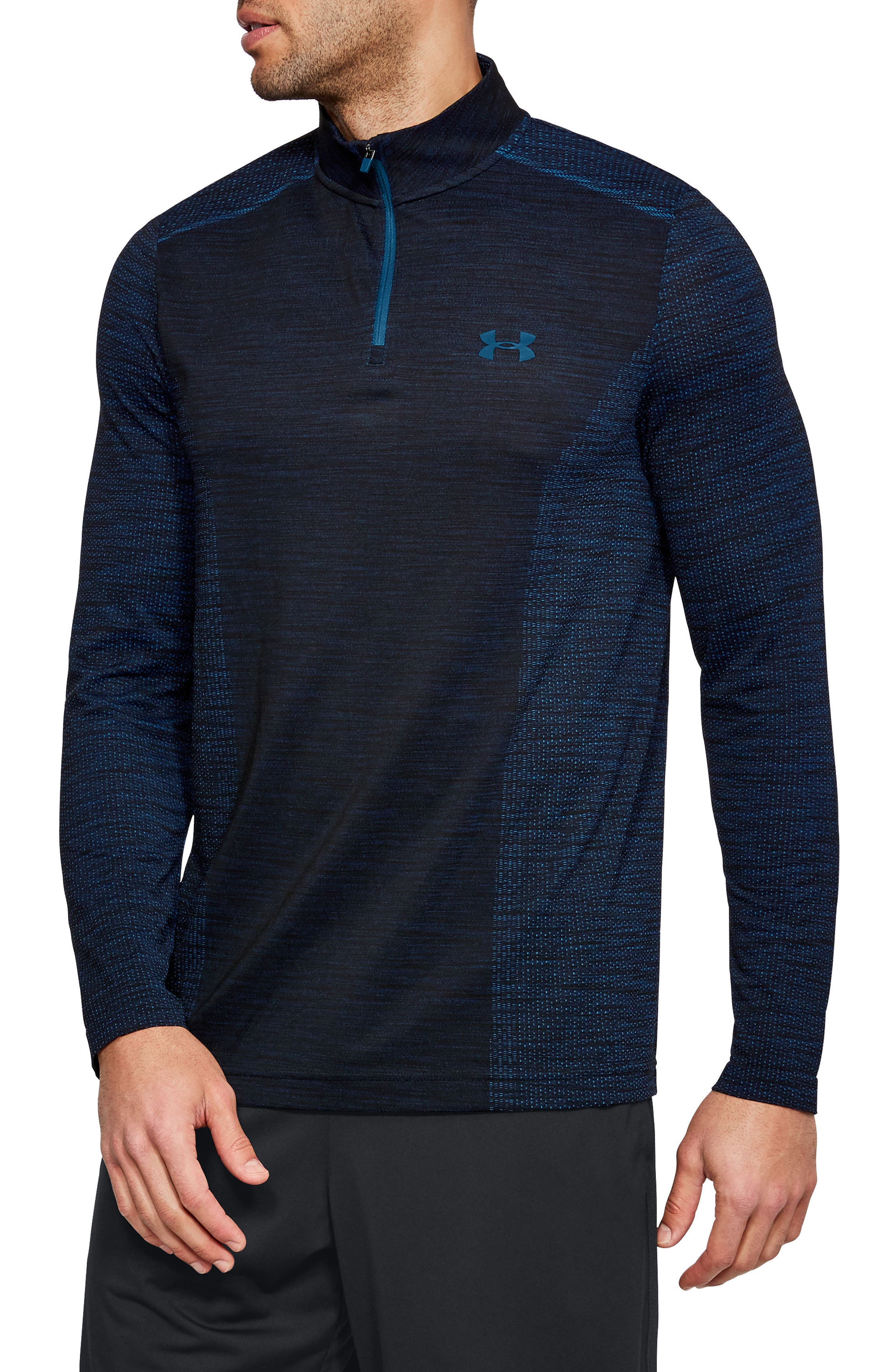 Under Armour Mens 1/4 Zip Long Sleeve Pullover Size L Heatgear Navy/black Easy To Use Activewear