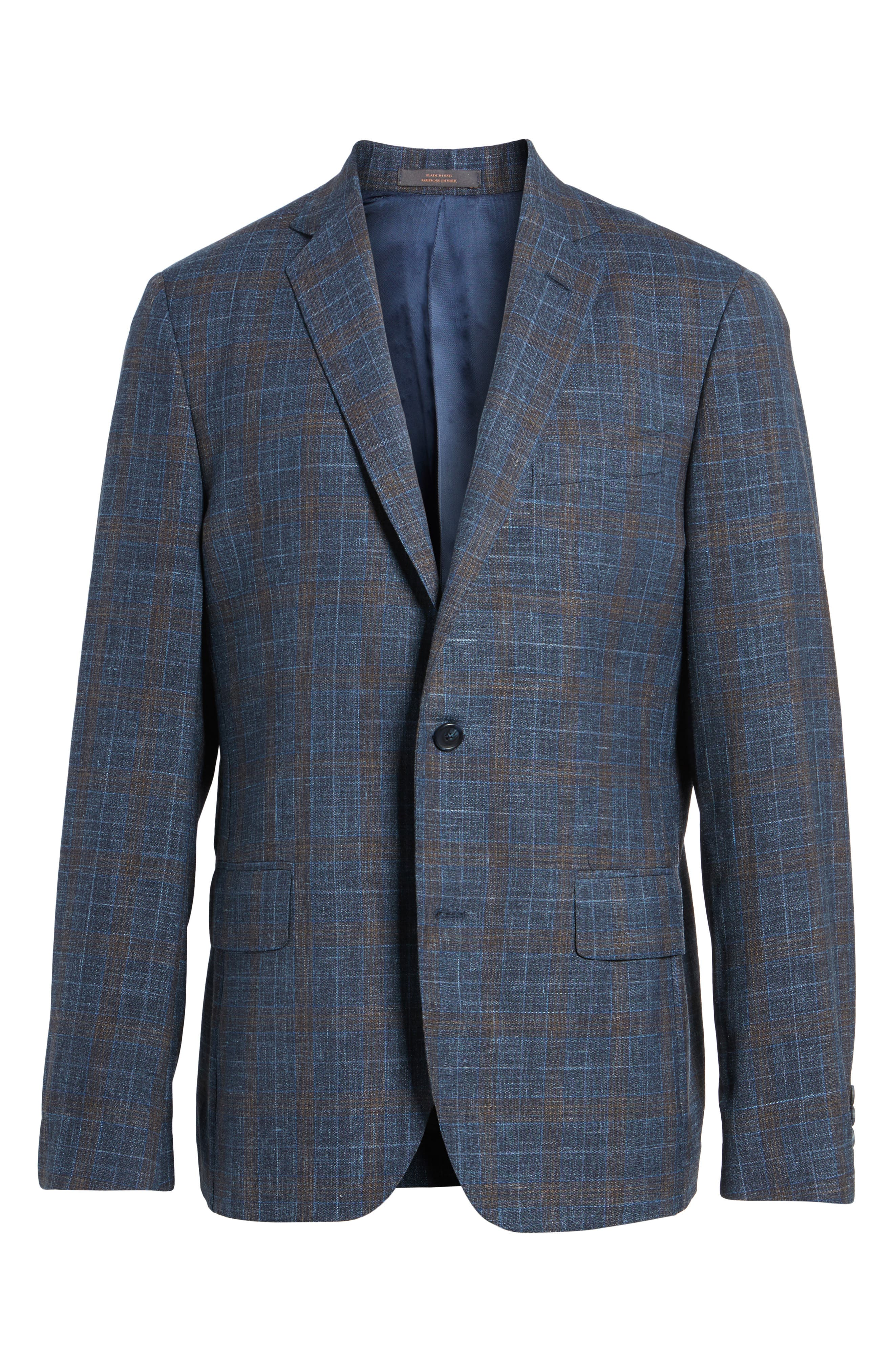 Trim Fit Plaid Wool Blend Sport Coat,                             Alternate thumbnail 6, color,                             Navy