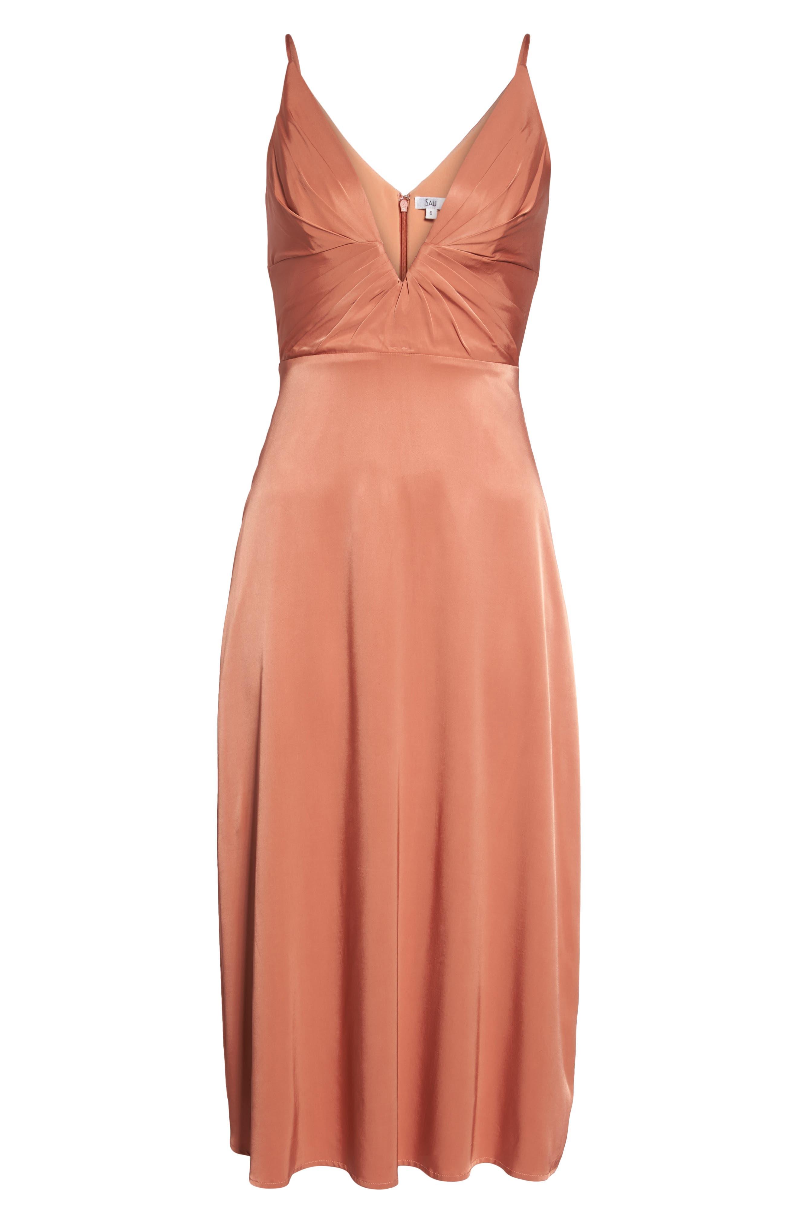 Lea Plunge Neck Midi Dress,                             Alternate thumbnail 6, color,                             Terracotta