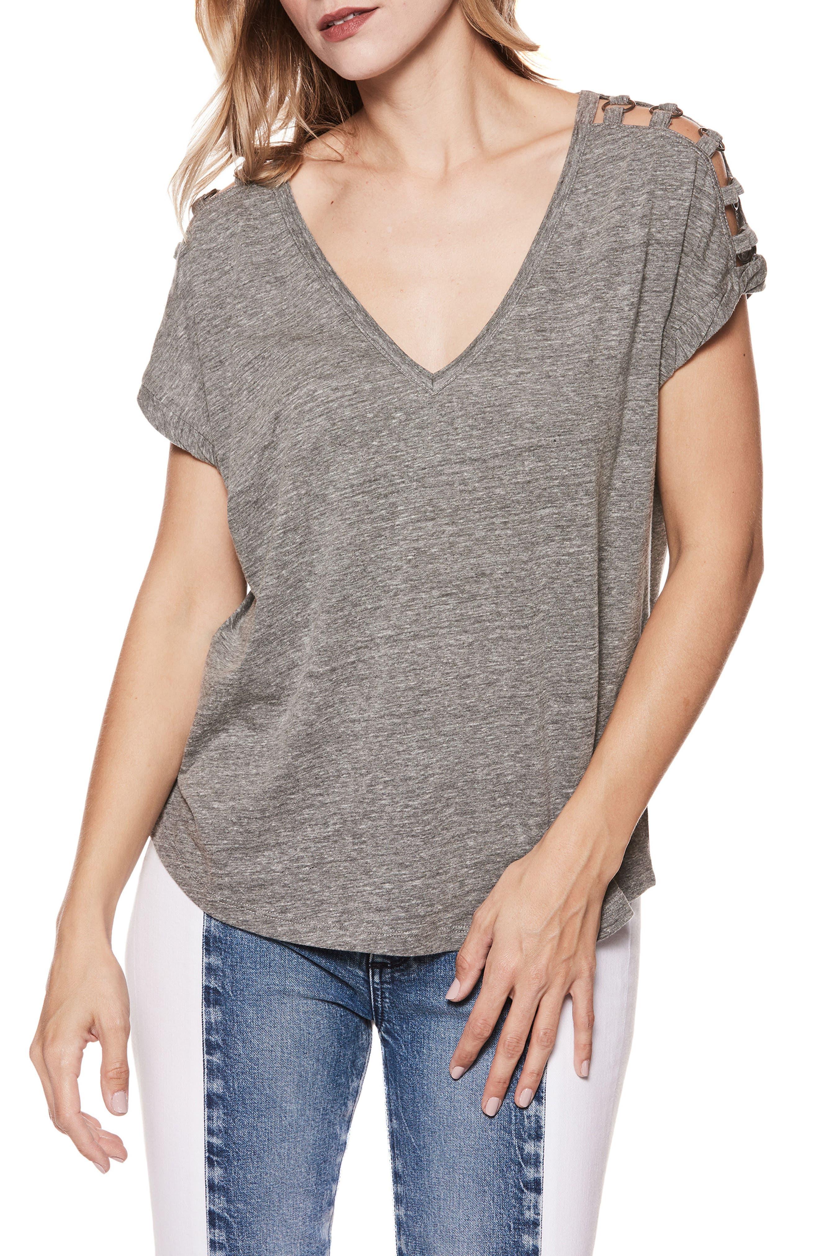 Aislinn Cutout Shoulder Tee,                             Main thumbnail 1, color,                             Heather Grey