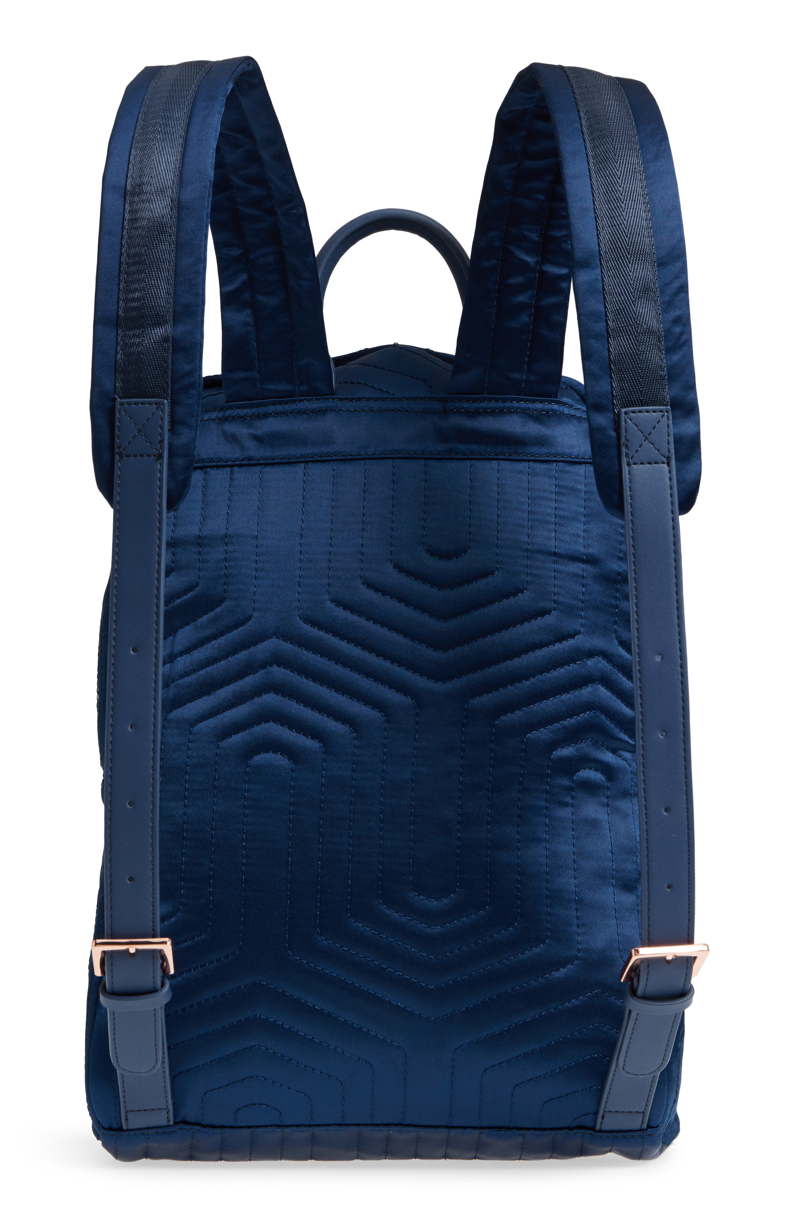 Akija Quilted Bow Backpack,                             Alternate thumbnail 3, color,                             Navy