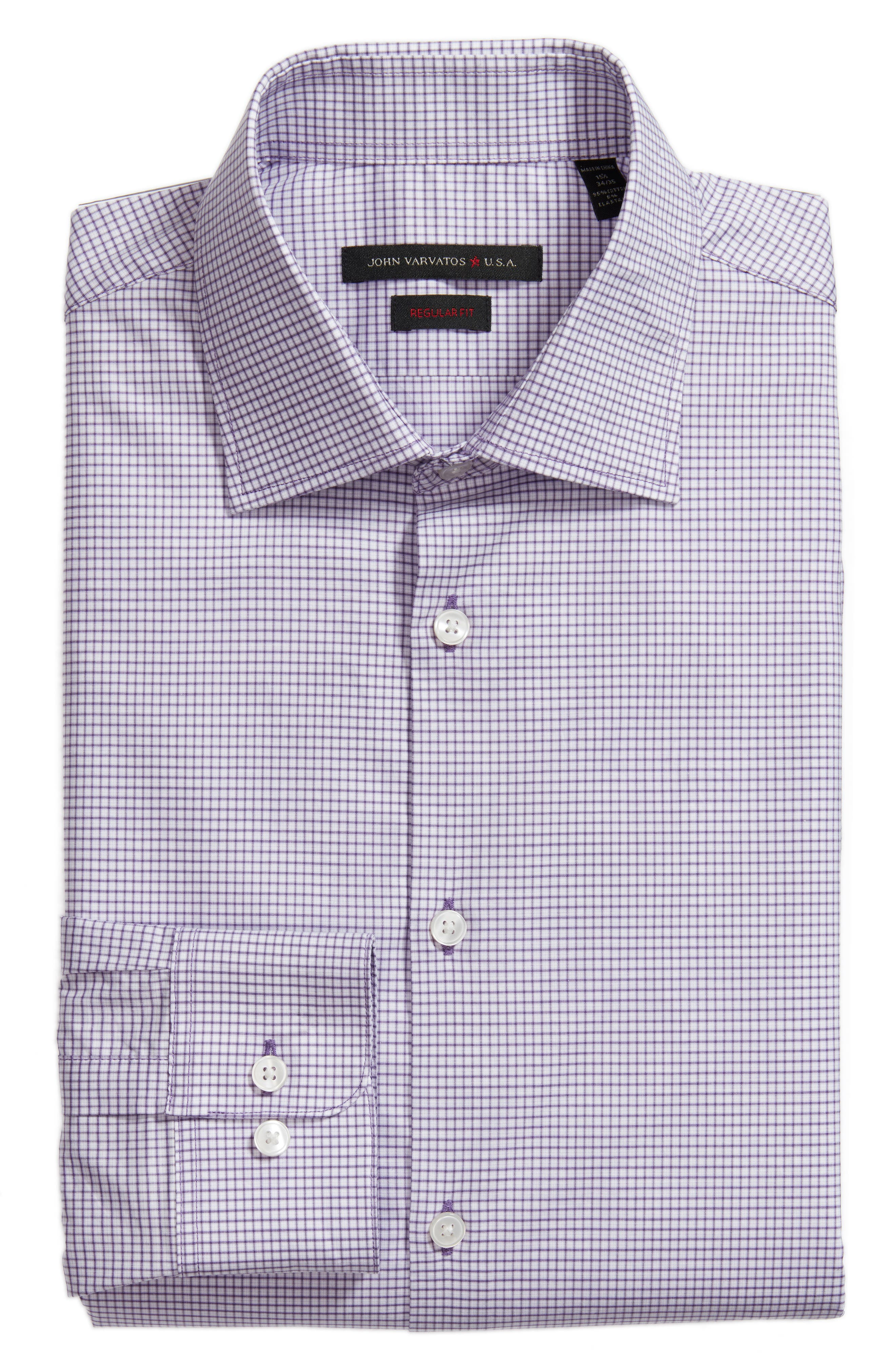 Regular Fit Stretch Check Dress Shirt,                             Alternate thumbnail 6, color,                             Purple