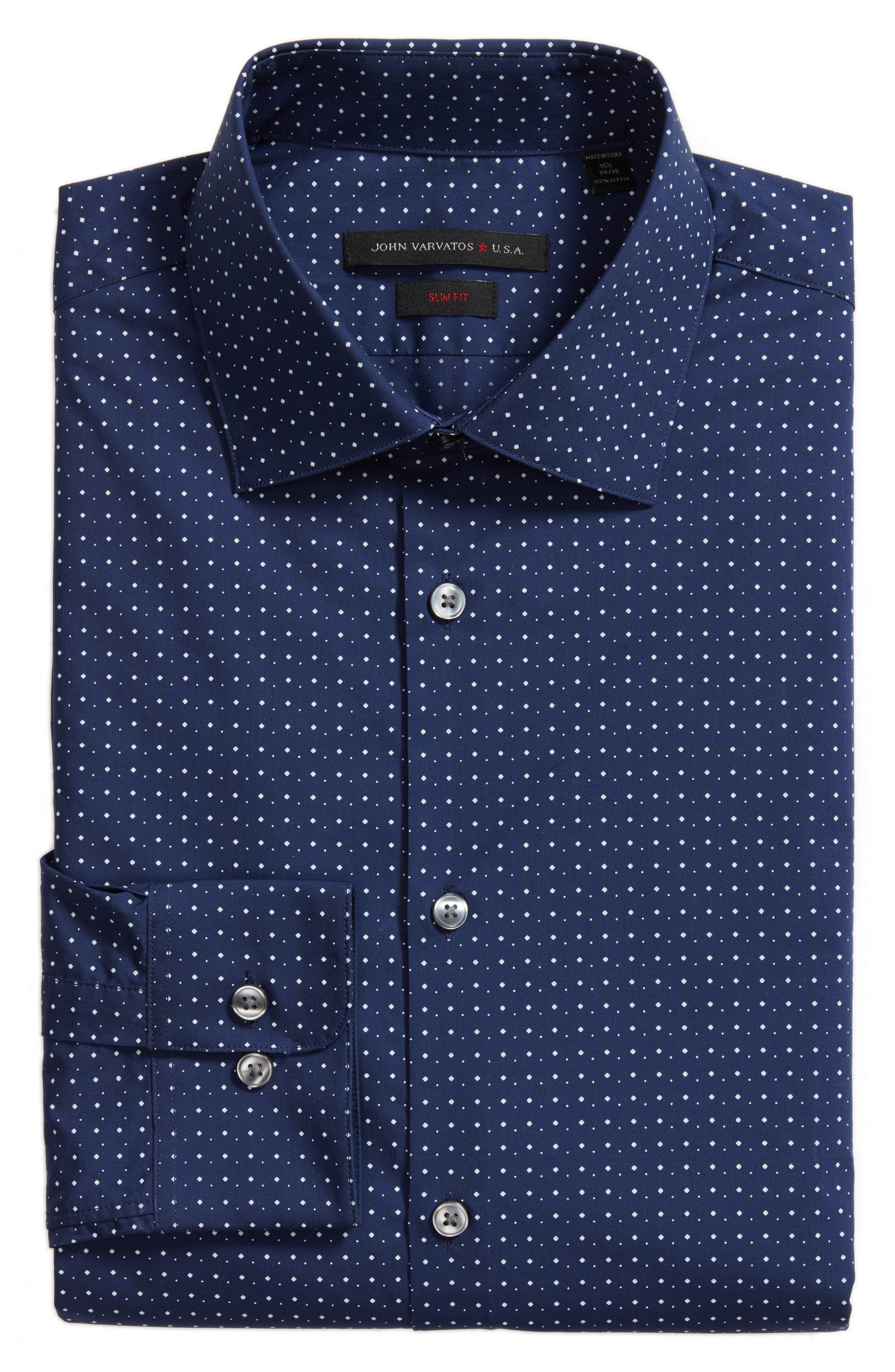 Slim Fit Diamond Dress Shirt,                             Alternate thumbnail 6, color,                             Sapphire