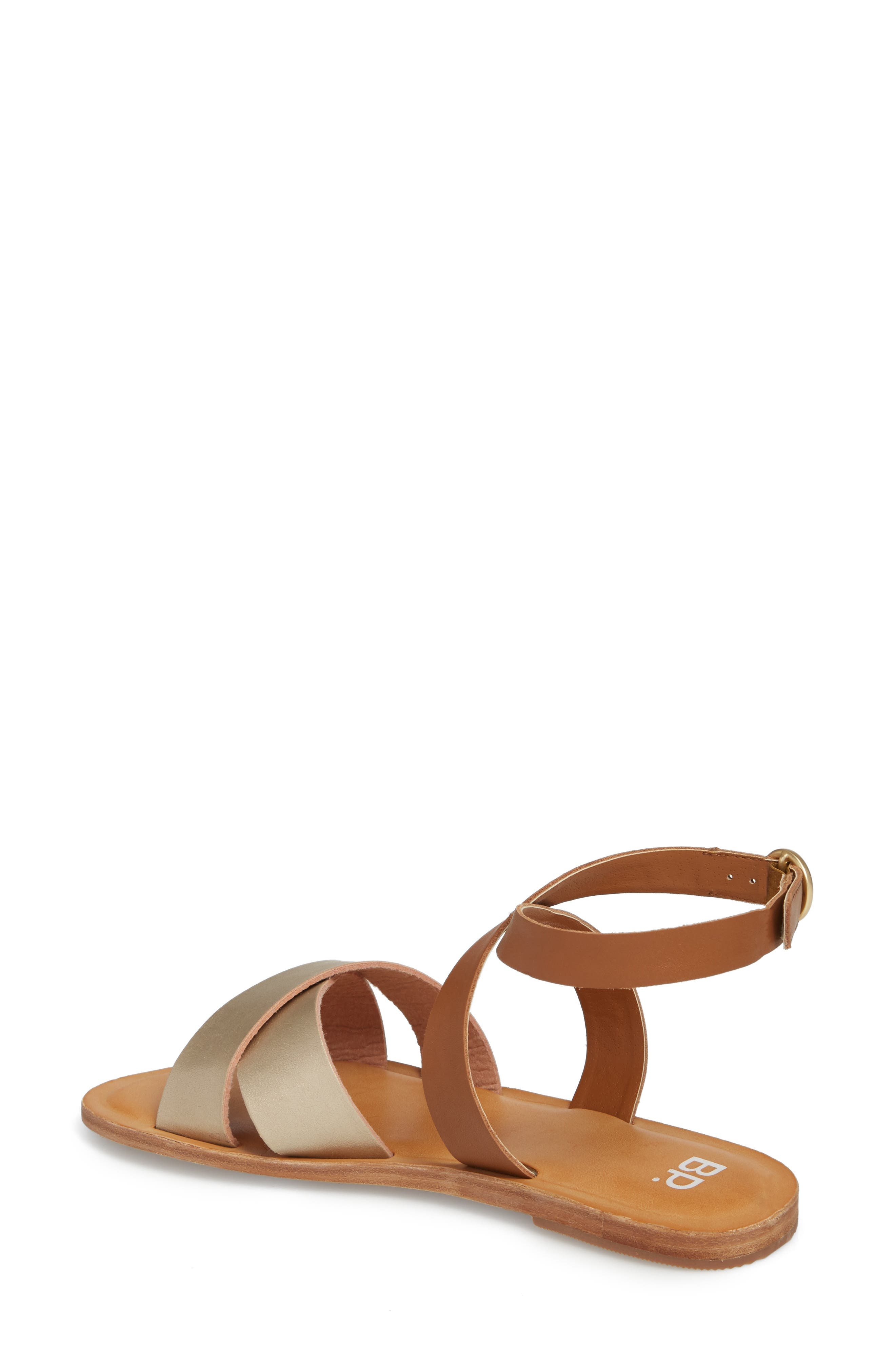 Reed Strappy Flat Sandal,                             Alternate thumbnail 2, color,                             Gold/Cognac