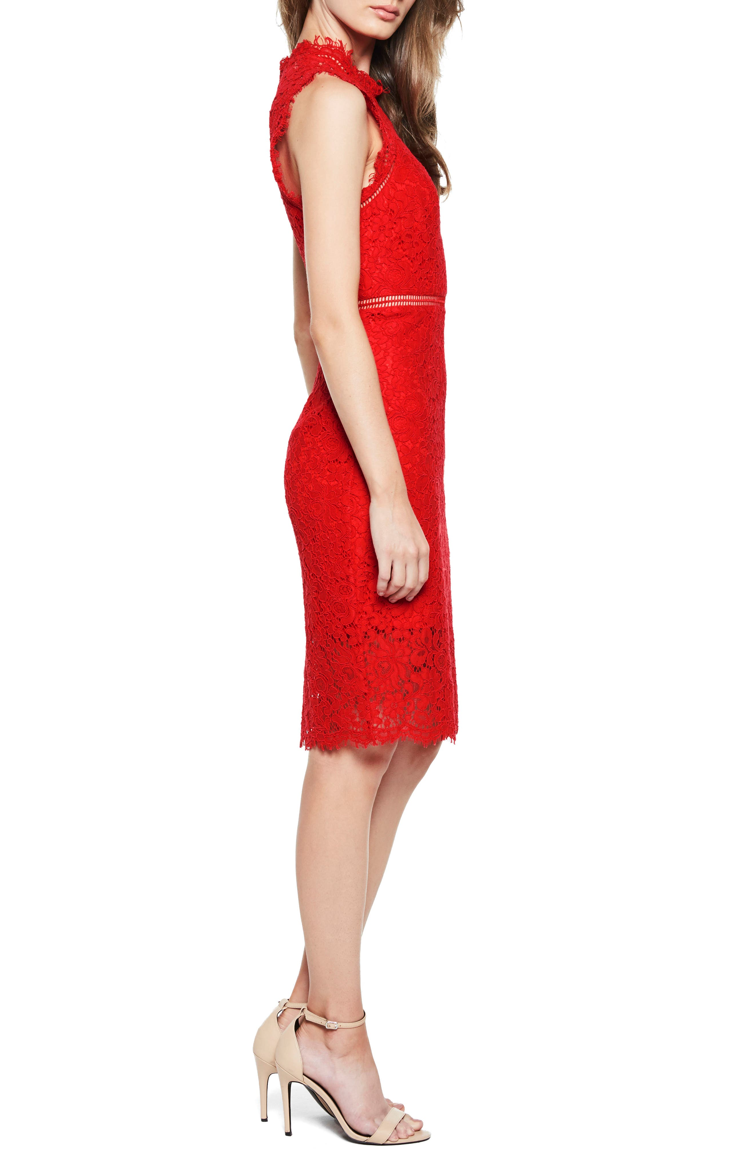 Lace Sheath Dress,                             Alternate thumbnail 3, color,                             Red