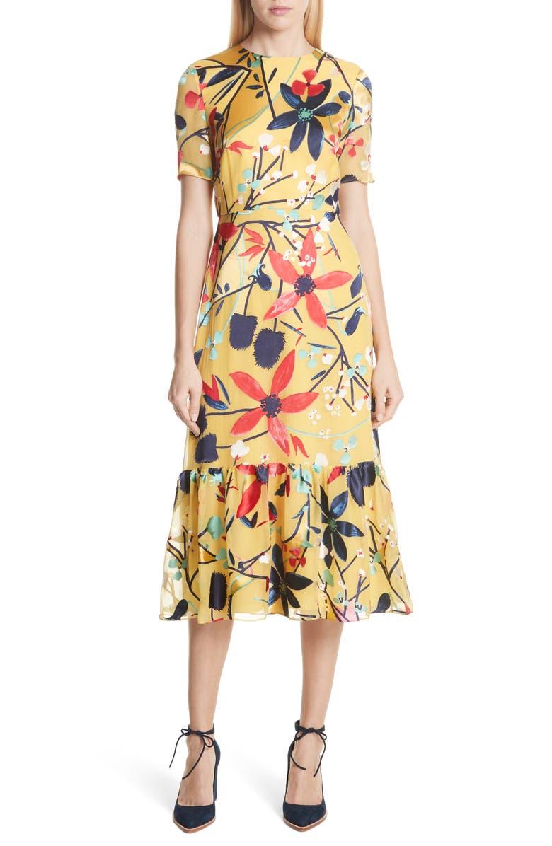 Lorna Print Ruffle Hem Midi Dress