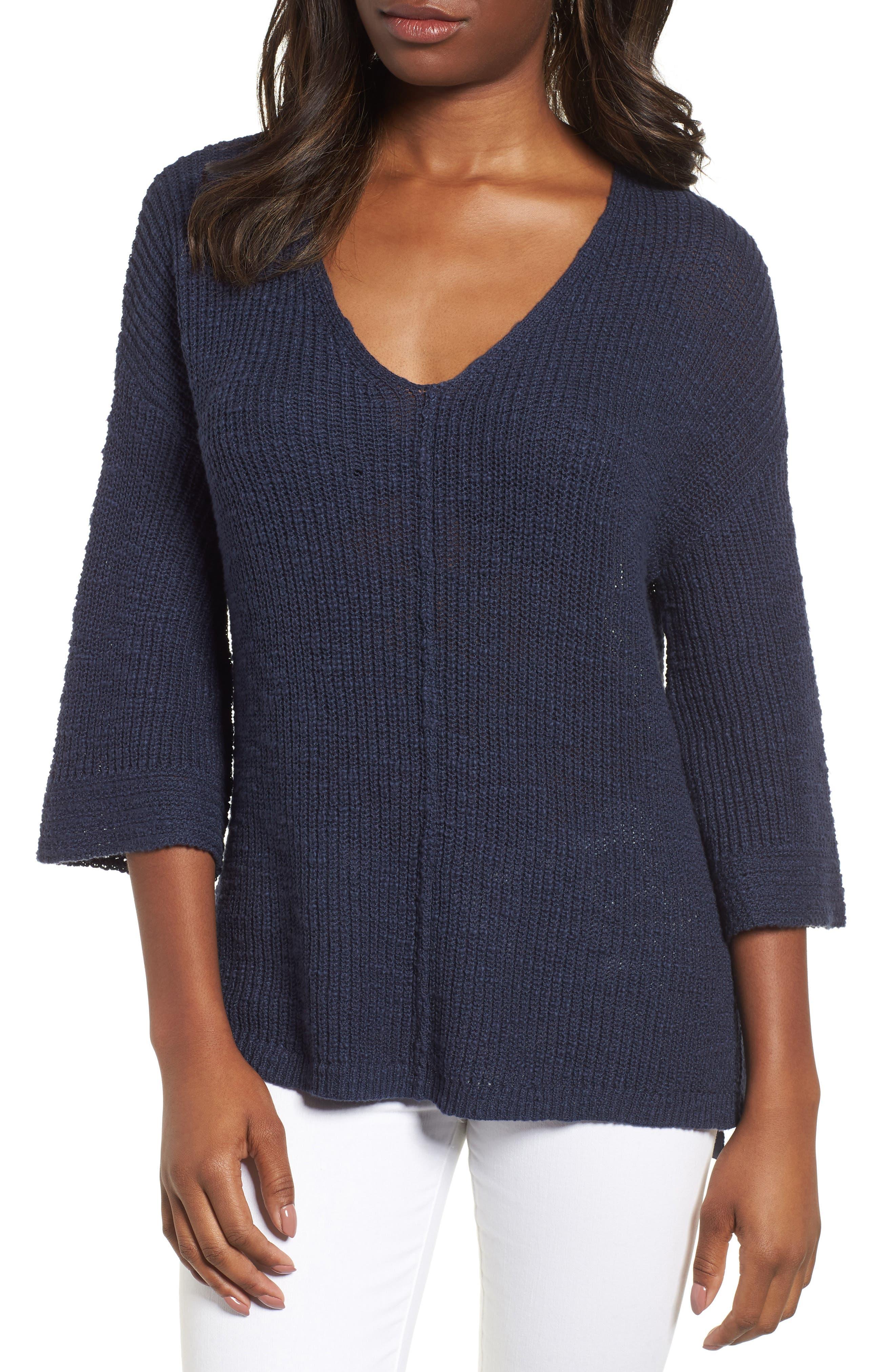 Caslon® Hidden Snap V-Neck Sweater (Regular & Petite)