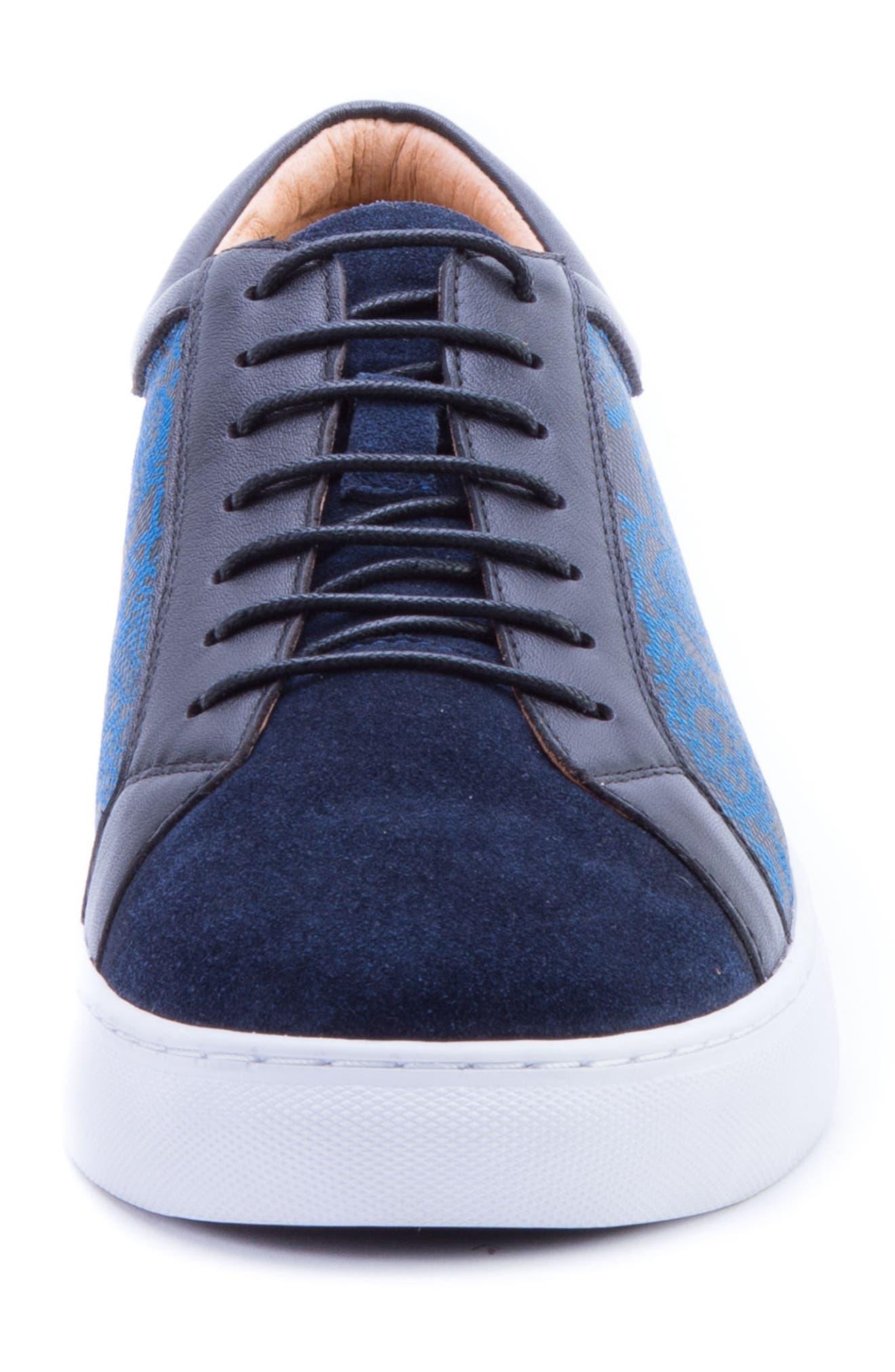 Rubio Floral Sneaker,                             Alternate thumbnail 4, color,                             Navy Suede