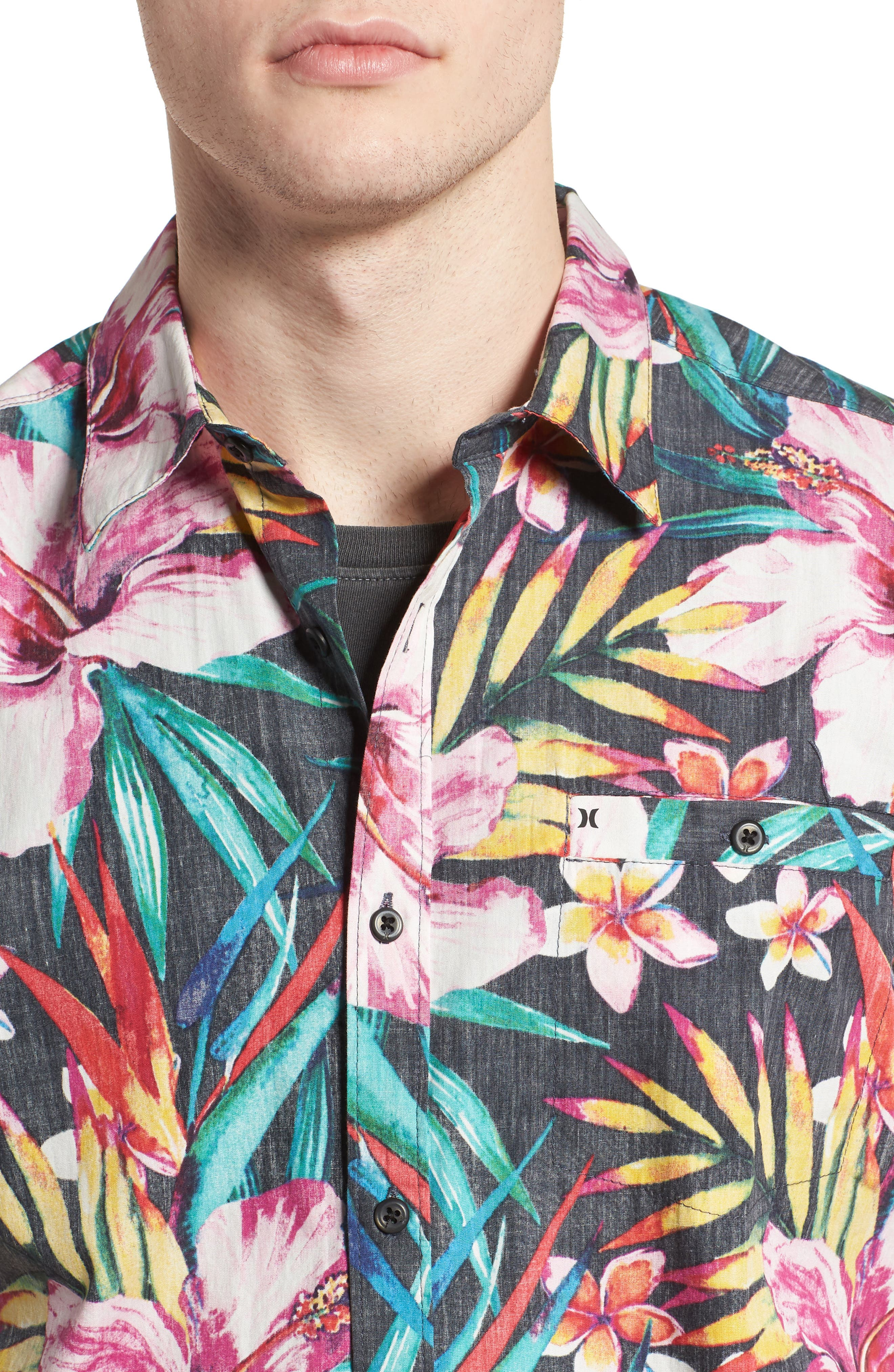 Garden Woven Shirt,                             Alternate thumbnail 2, color,                             Black