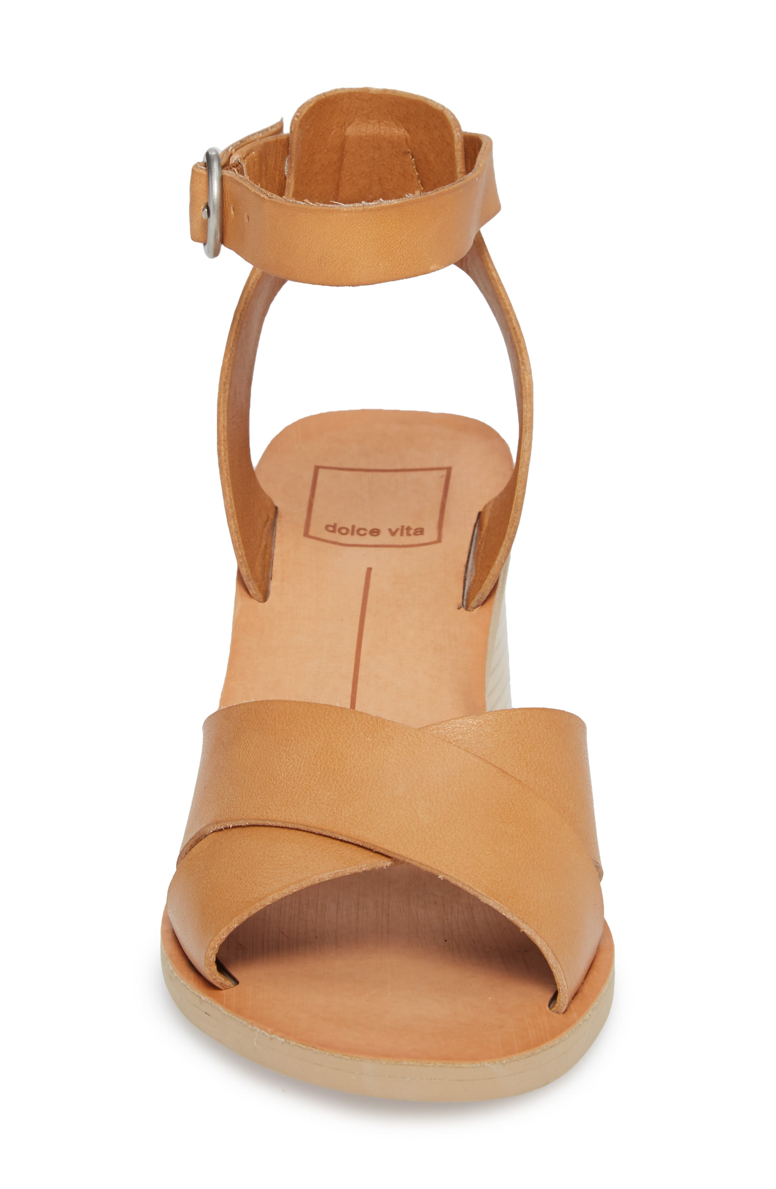 Roman Flared Heel Sandal,                             Alternate thumbnail 4, color,                             Caramel Leather