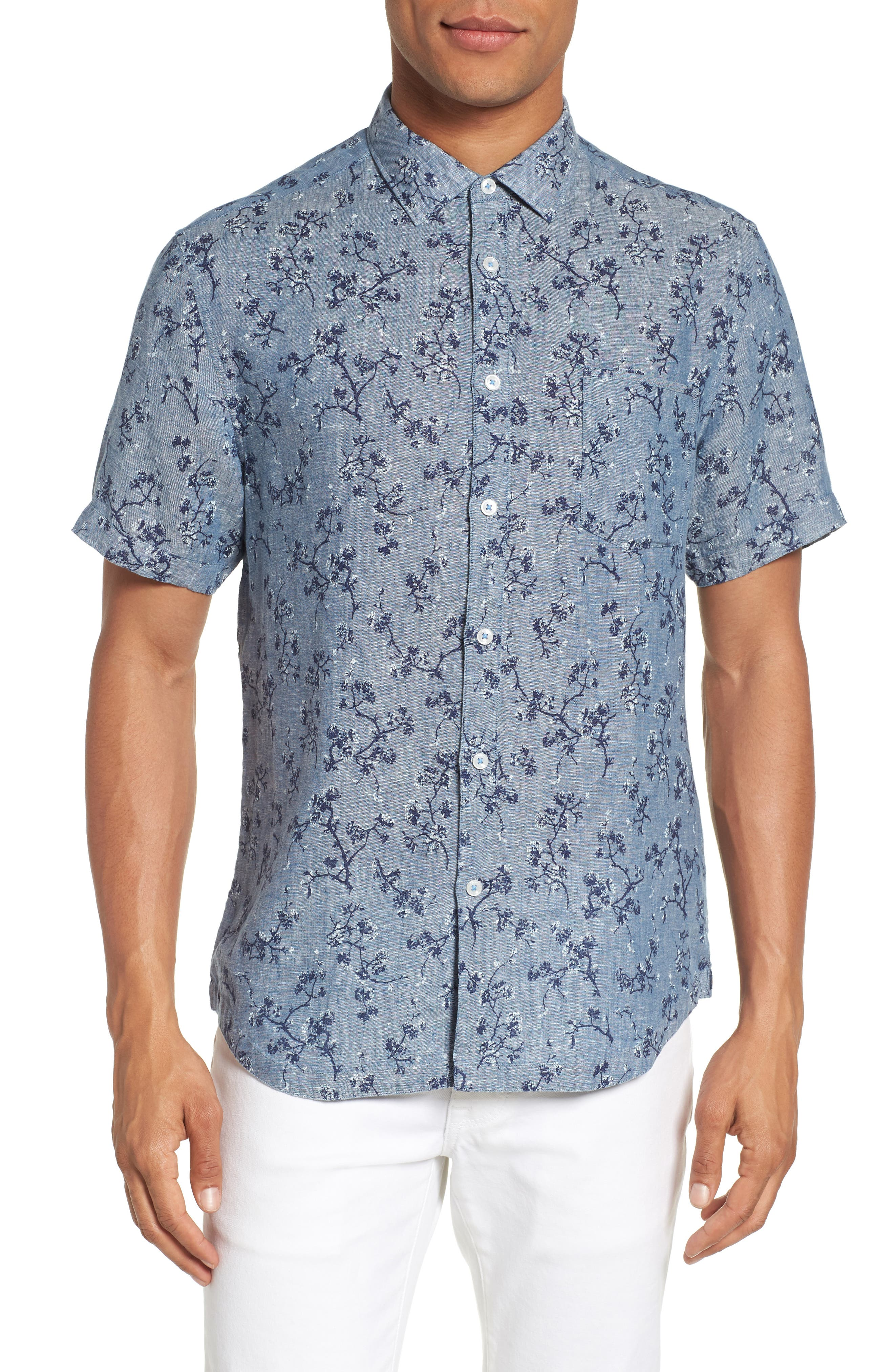 Trim Fit Floral Sport Shirt,                         Main,                         color, Indigo